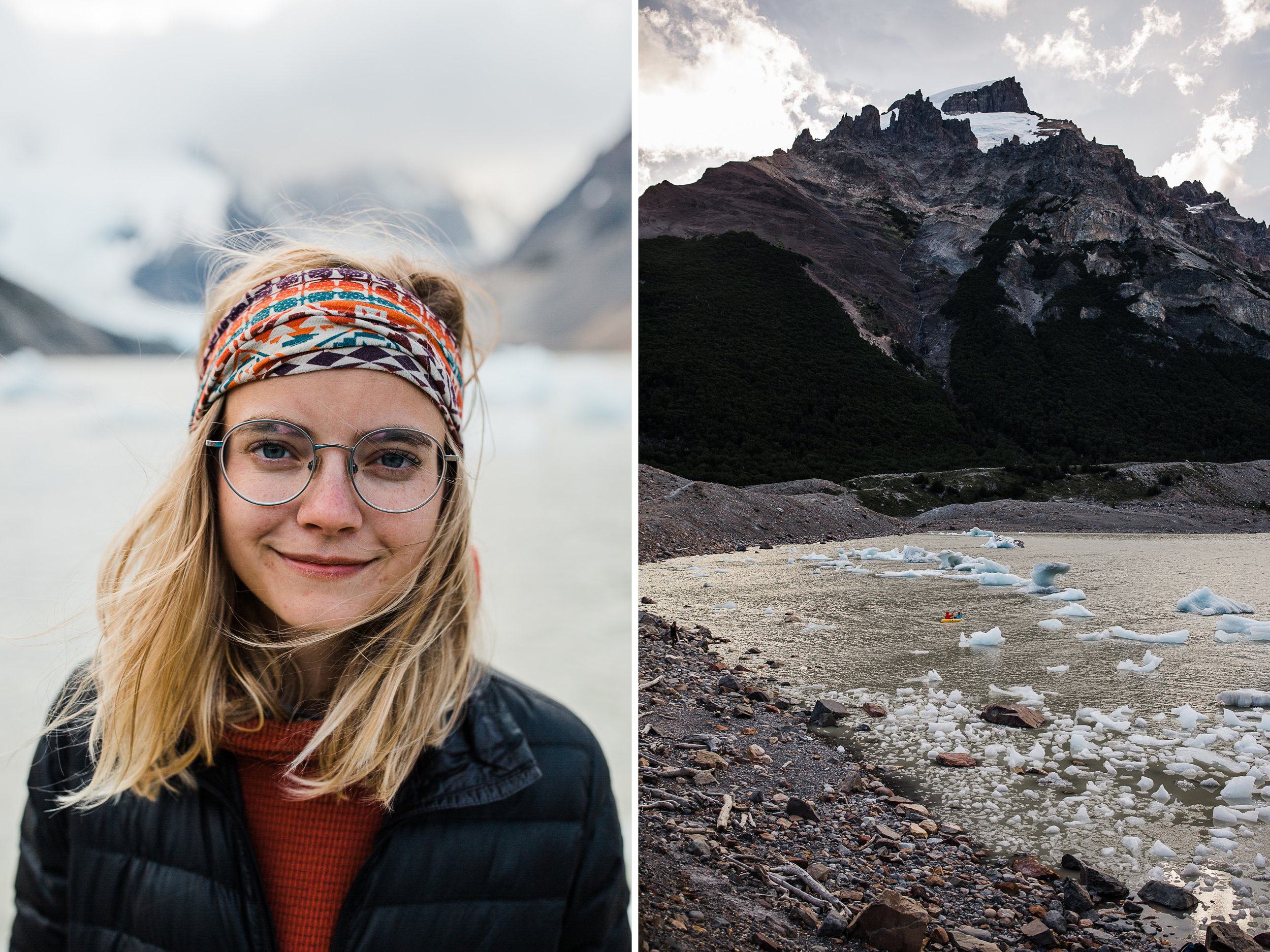 backpacking near cerro torre in Patagonia | campo de augostini + lago torre iceberg lagoon | adventure elopement inspiration | the hearnes adventure photography