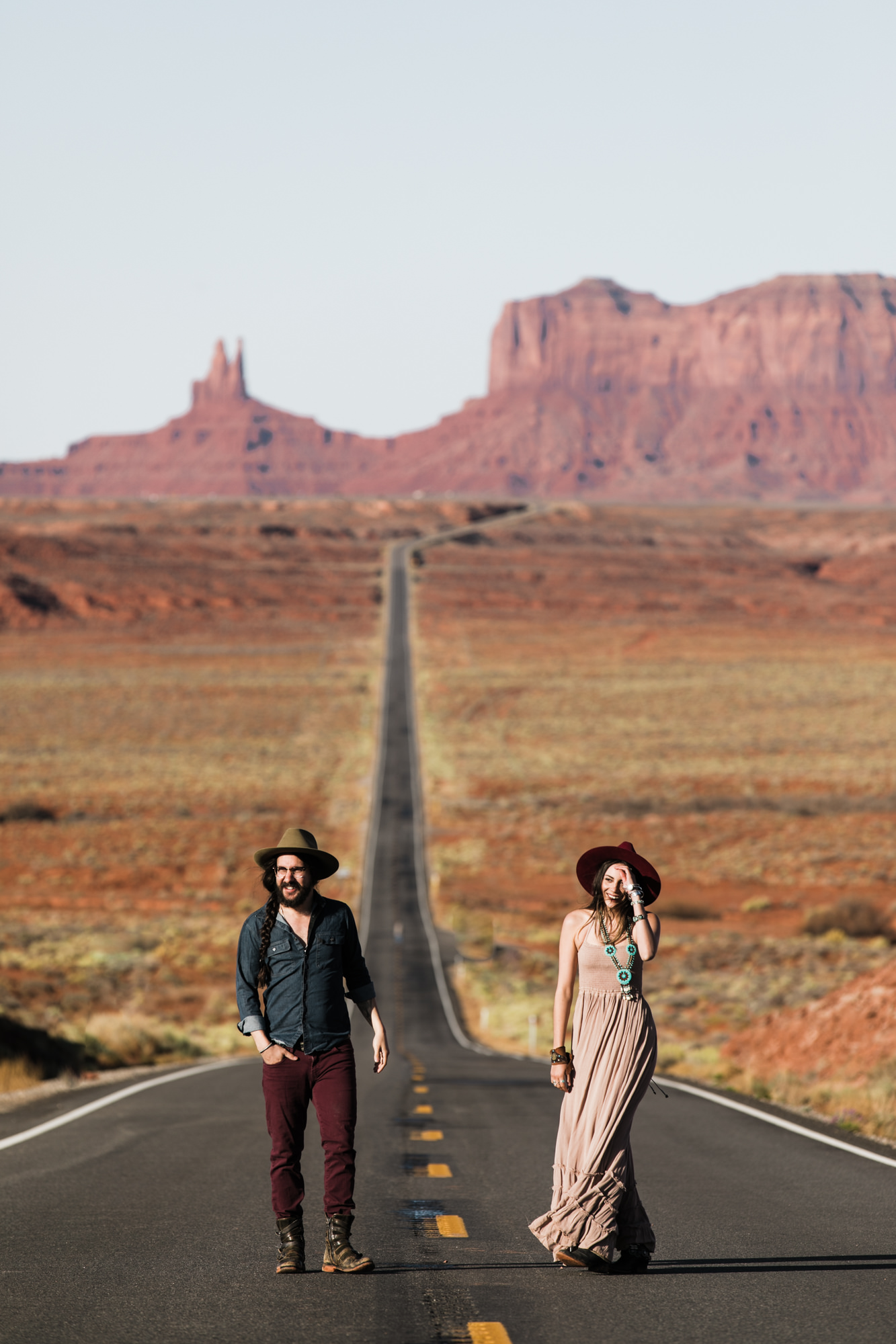 rachel + ryan's western stylish engagement session in monument valley | desert elopement inspiration | boho southwestern style | the hearnes adventure photography