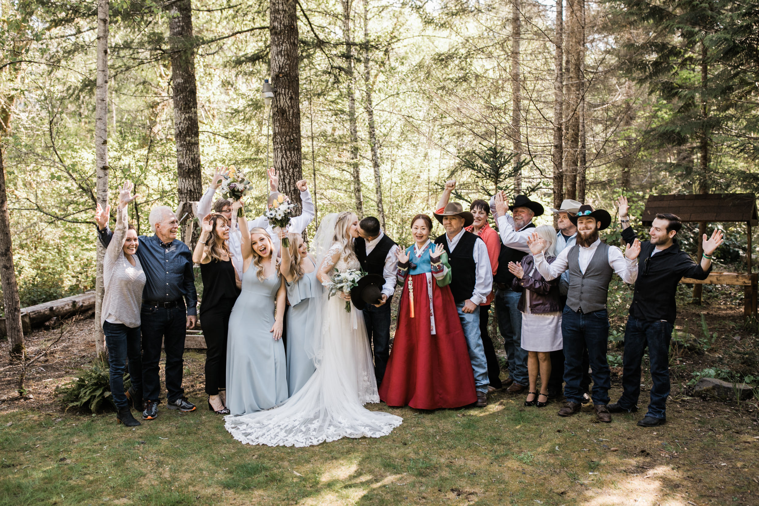 intimate ceremony at an airbnb cabin in washington | wedding portraits in the snow in mount rainier national park | first dance in the mountains | national park elopement photographer