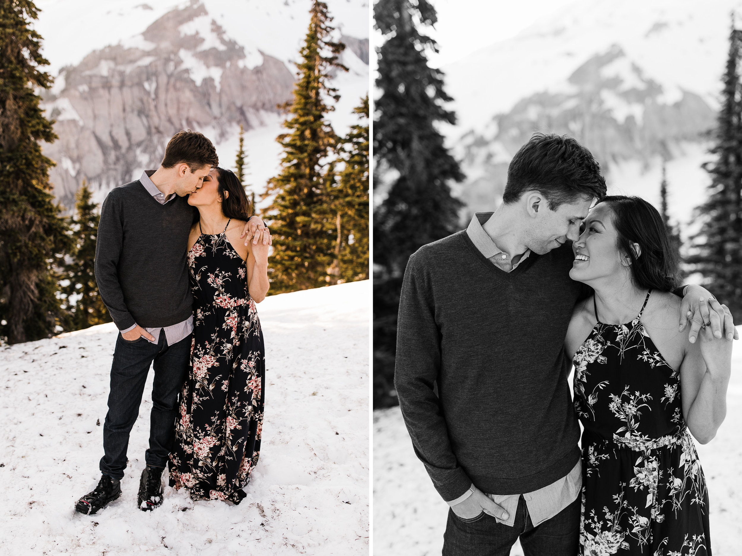 stacey + alec's snowy engagement session in mount rainier national park | national park elopement photographer | adventure wedding photographer | the hearnes adventure photography