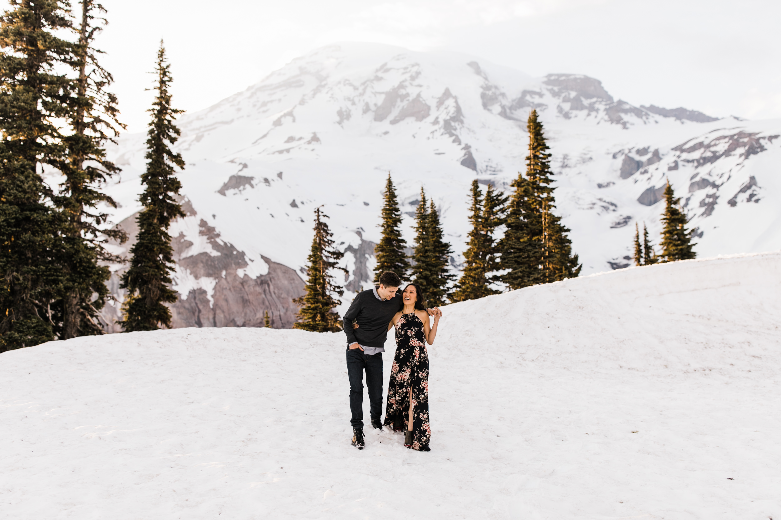stacey + alec's snowy engagement session in mount rainier national park | national park elopement photographer | adventure wedding photographer | the hearnes adventure photography