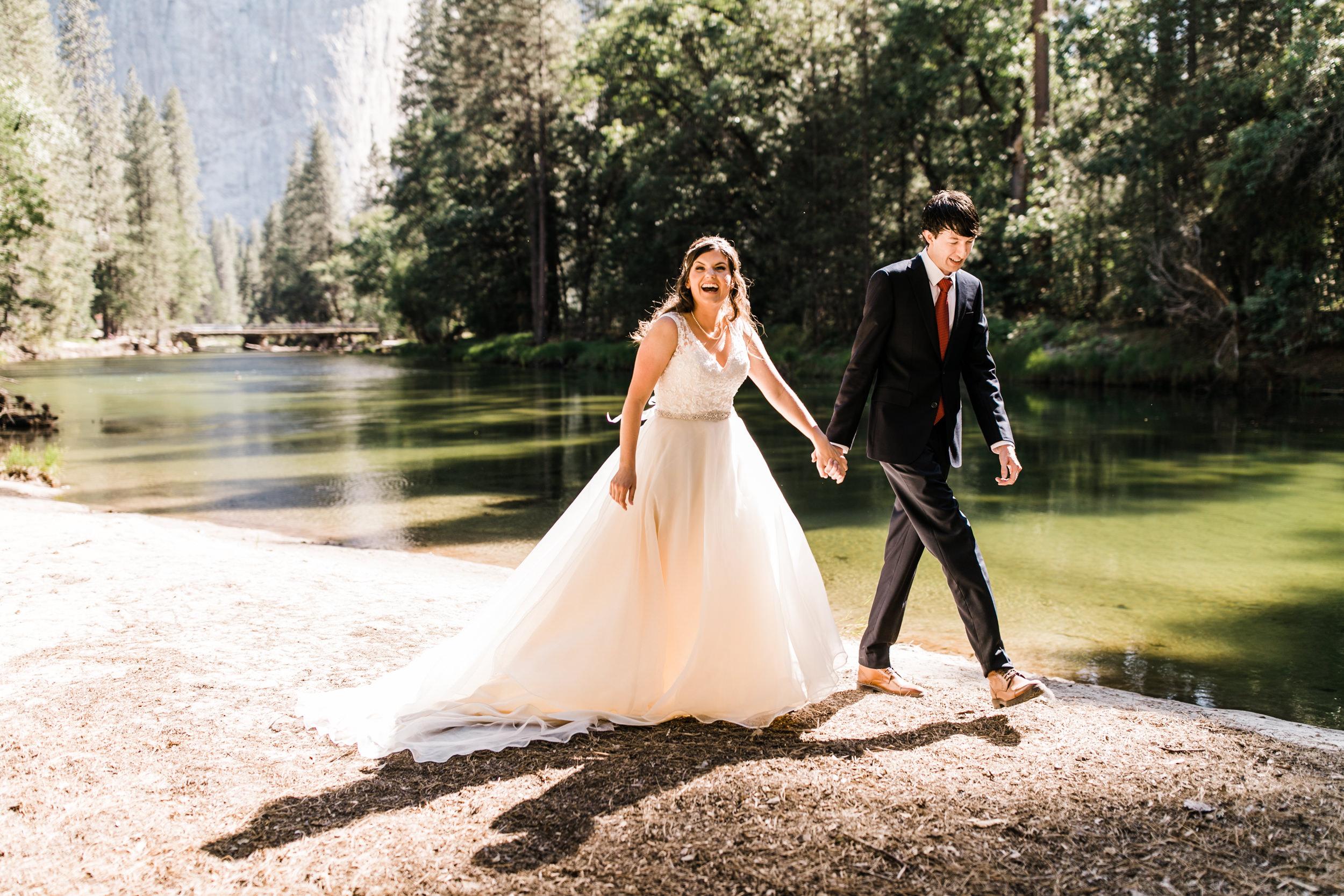samantha + ben's elopement in yosemite valley | adventure wedding portraits at glacier point | national park elopement photographer | yosemite wedding photographer