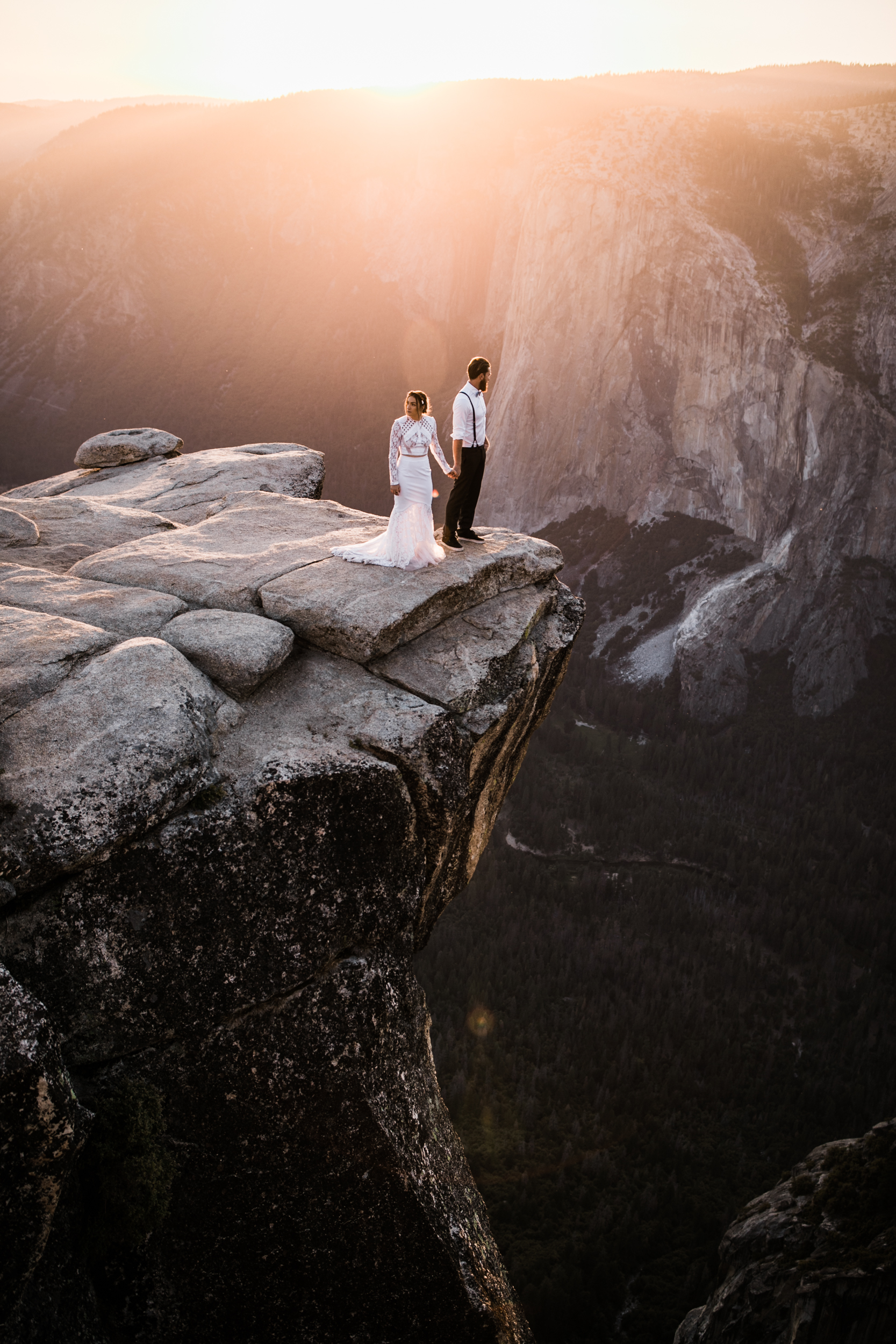 destination elopement in yosemite valley | adventure wedding portraits + romantic vows on a cliffside | national park elopement photographer | the hearnes adventure photography