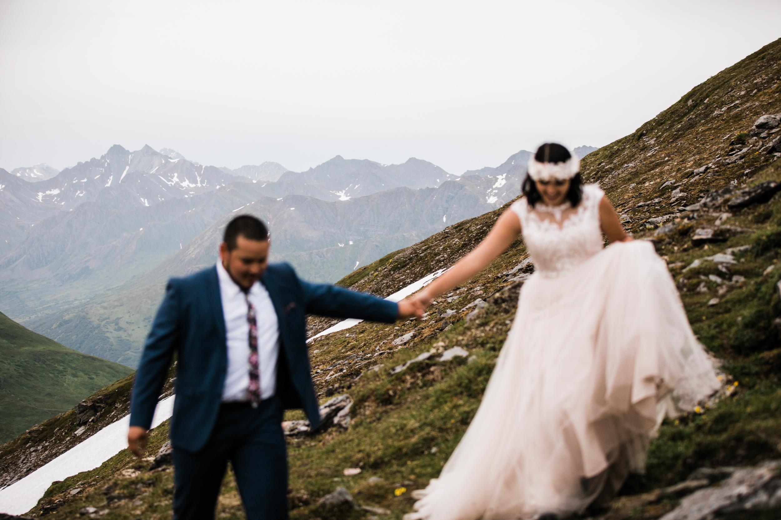 adventurous wedding portrait session at hatcher pass near anchorage | alaska elopement photographer | the hearnes adventure photography | www.thehearnes.com