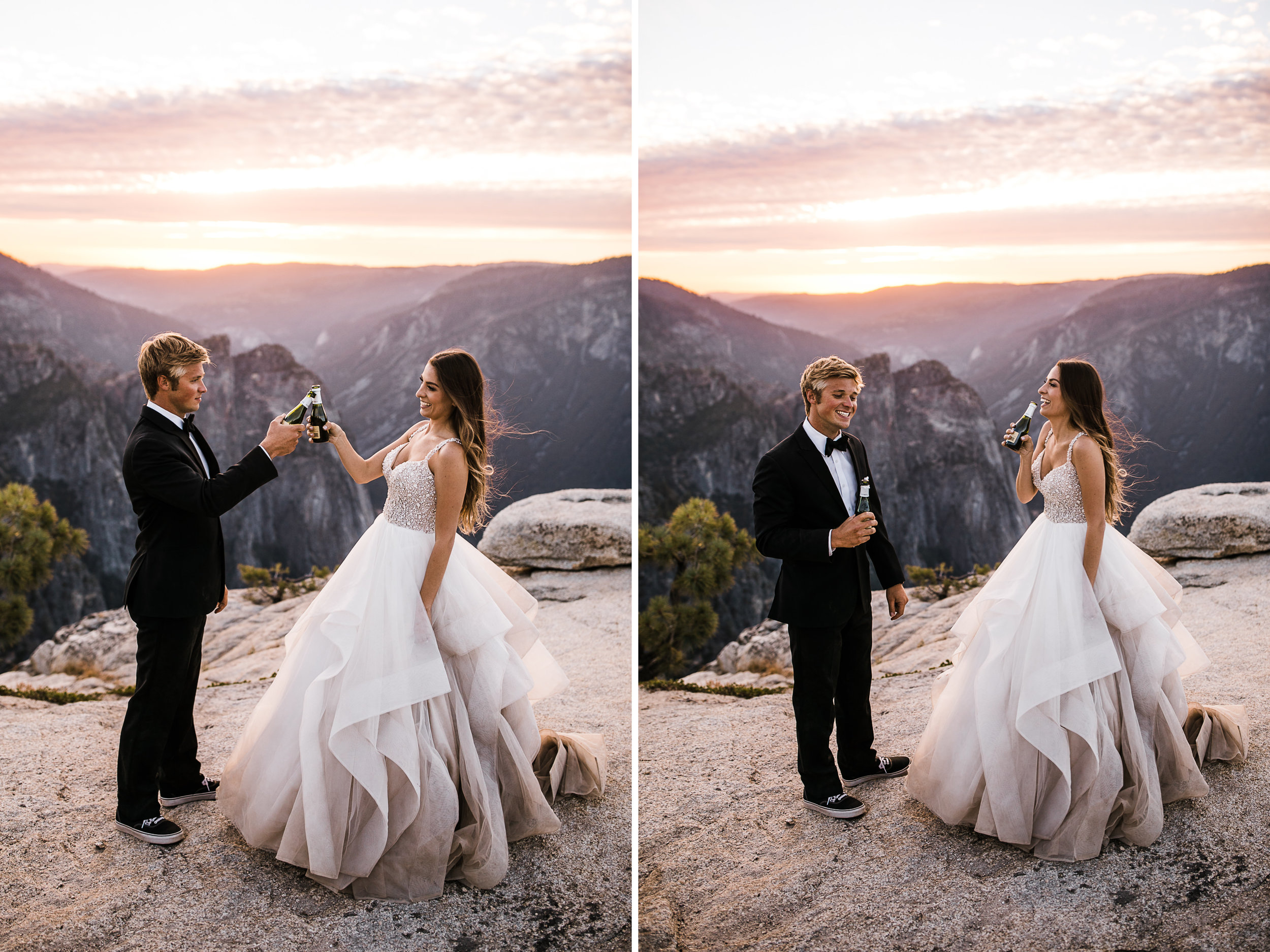 intimate wedding in yosemite national park | glacier point wedding ceremony | wedding portraits at taft point | hiking wedding inspiration | adventure elopement photographer | the hearnes