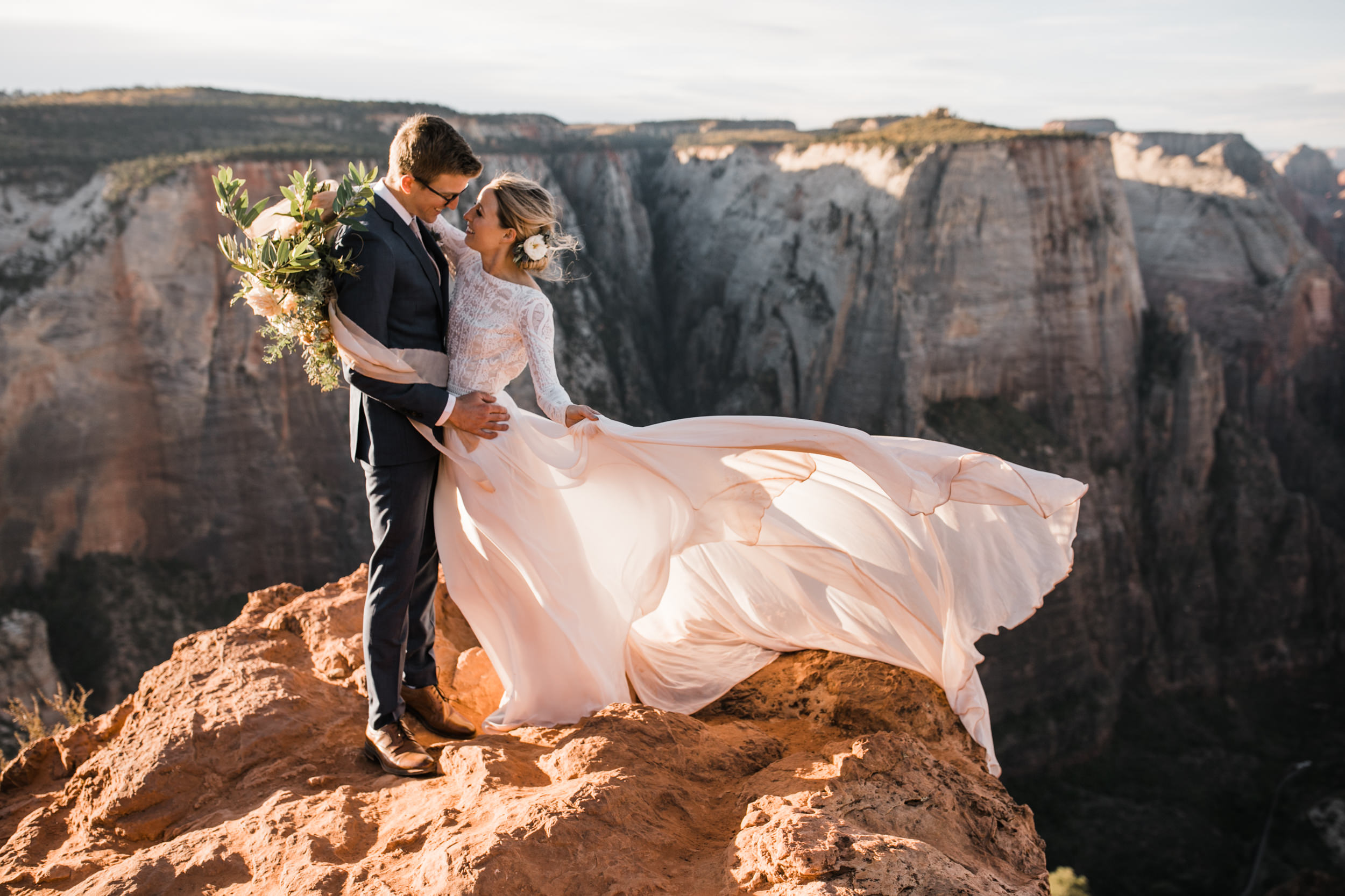 erin + marshall's sunrise elopement ceremony overlooking zion national park | hiking wedding | utah elopement photographer | the hearnes adventure photography
