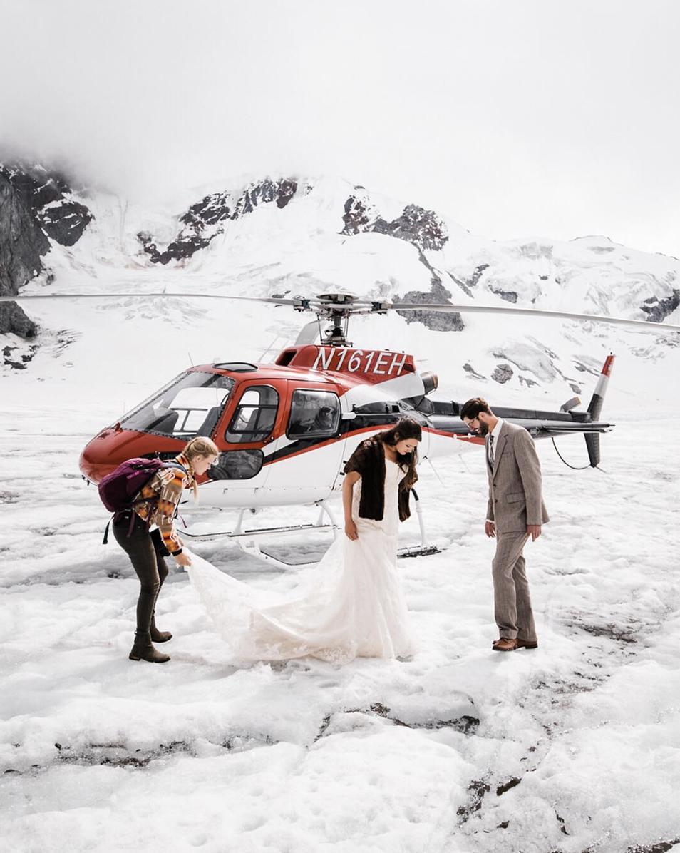 alaska adventure wedding photographer elopement on a glacier near denali national park