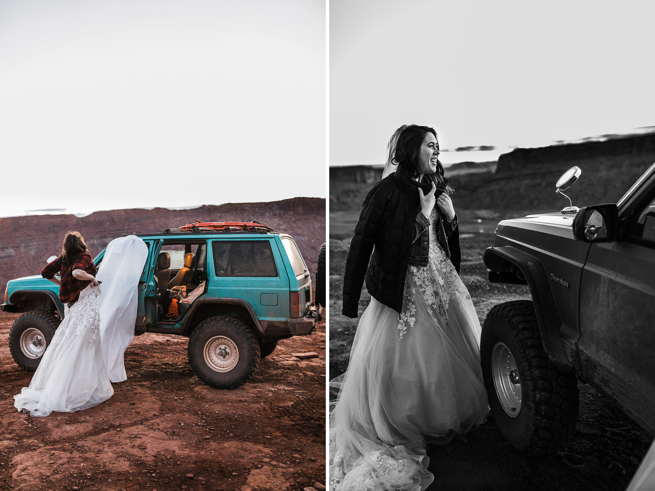Bride and groom opt for adventurous jeep elopement in Utah's Moab desert.