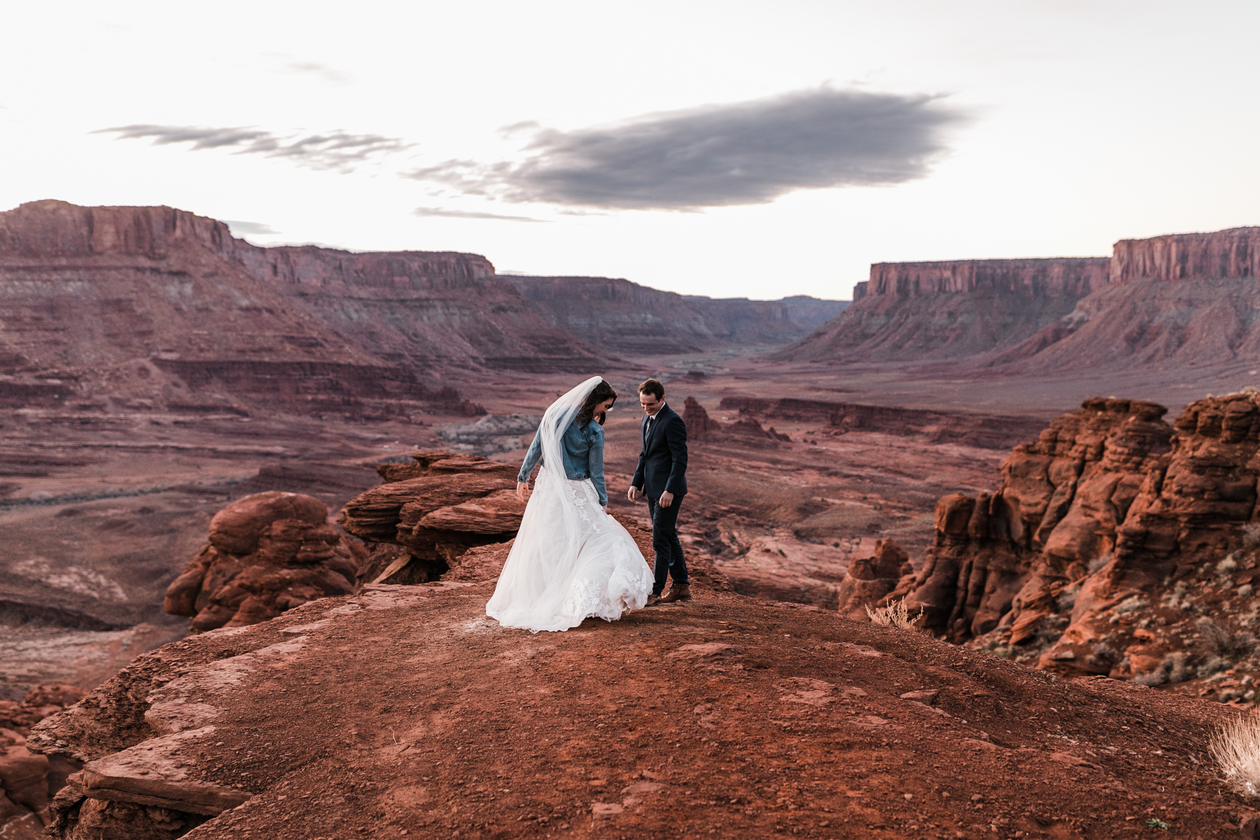 Jeff was absolutely in awe at their first look on the edge of the canyon. The wedding ceremony was later that evening in Arches National Park.