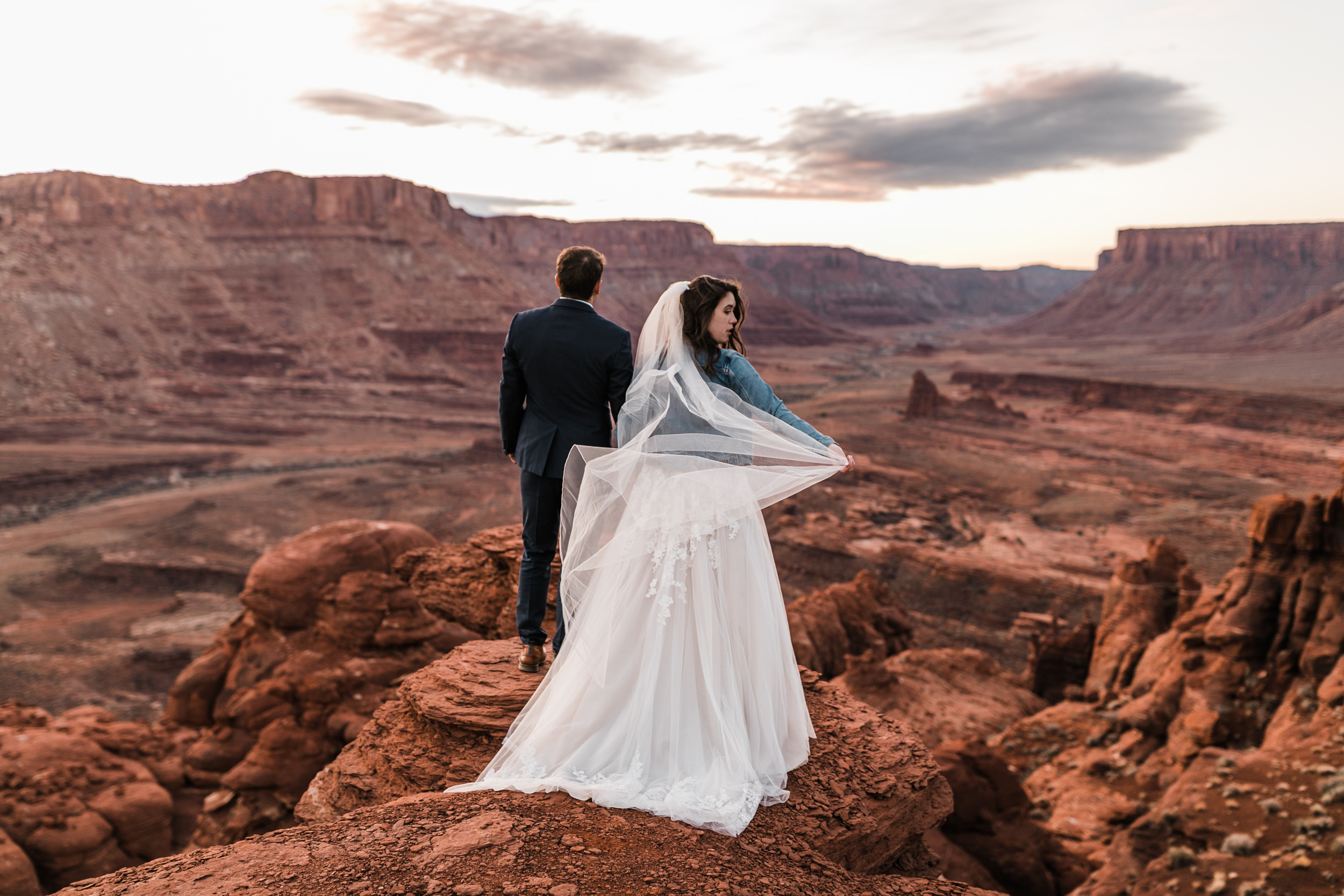 Claire's dress was absolutely beautiful and made for stunning pictures on the overlook during our sunrise shoot and first look.