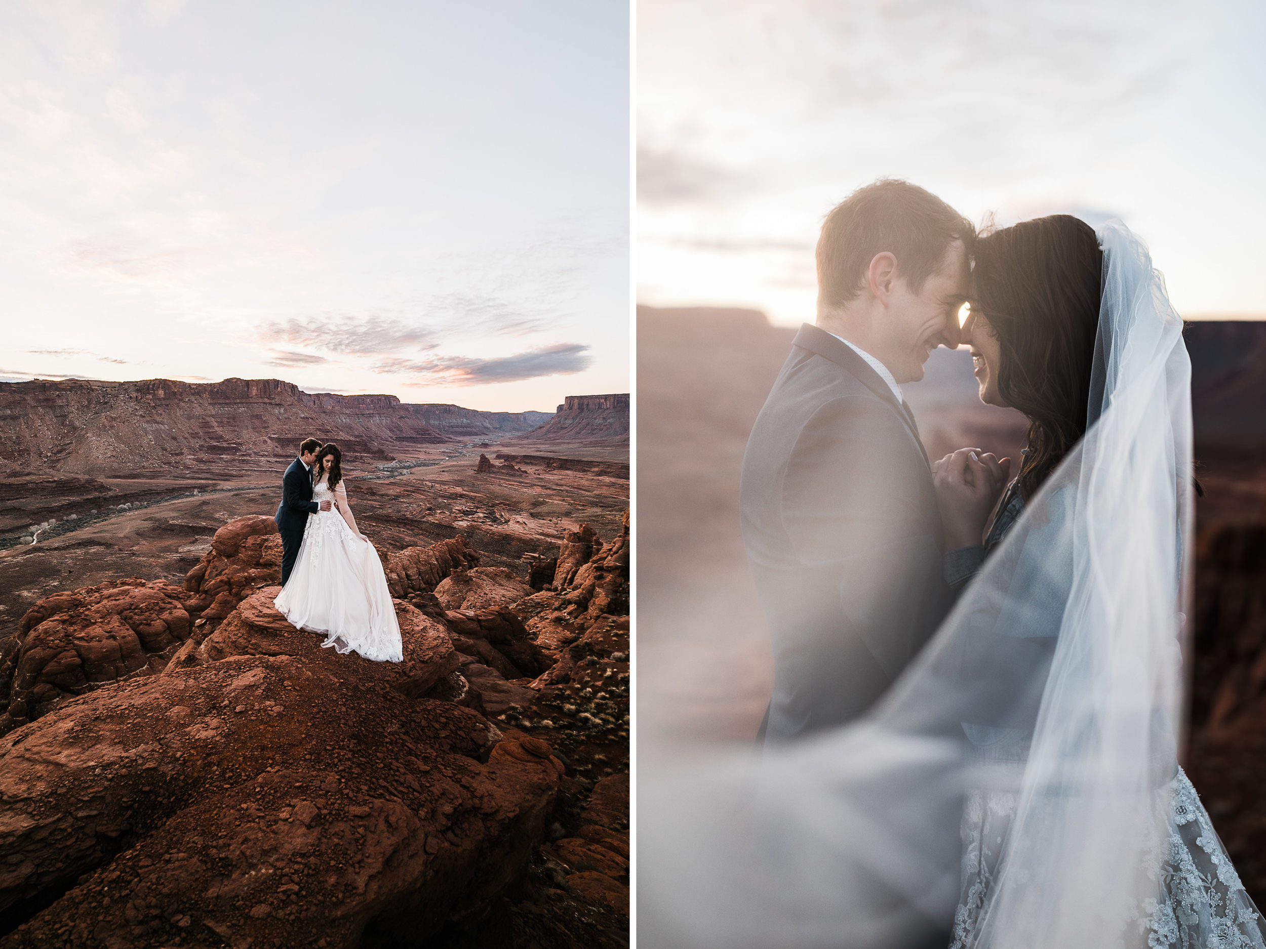 We had so much fun riding the jeep to the top of this canyon for the sunrise elopement photo session!