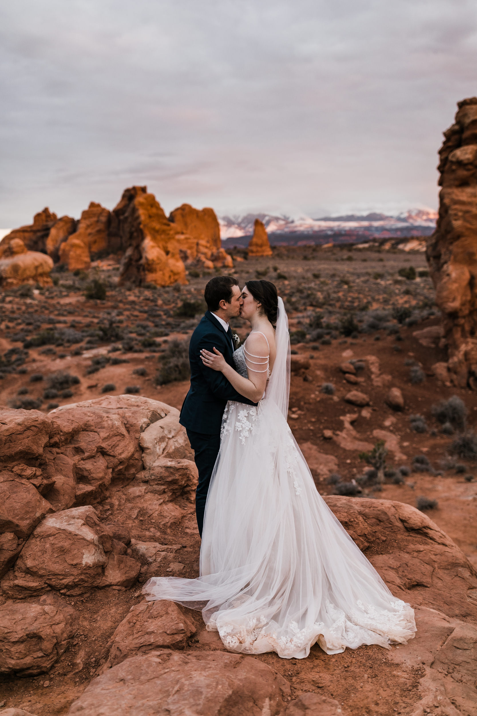 A little blue hour action on their wedding day. They eloped to Moab from Minnesota and brought along a small group of friends and family.