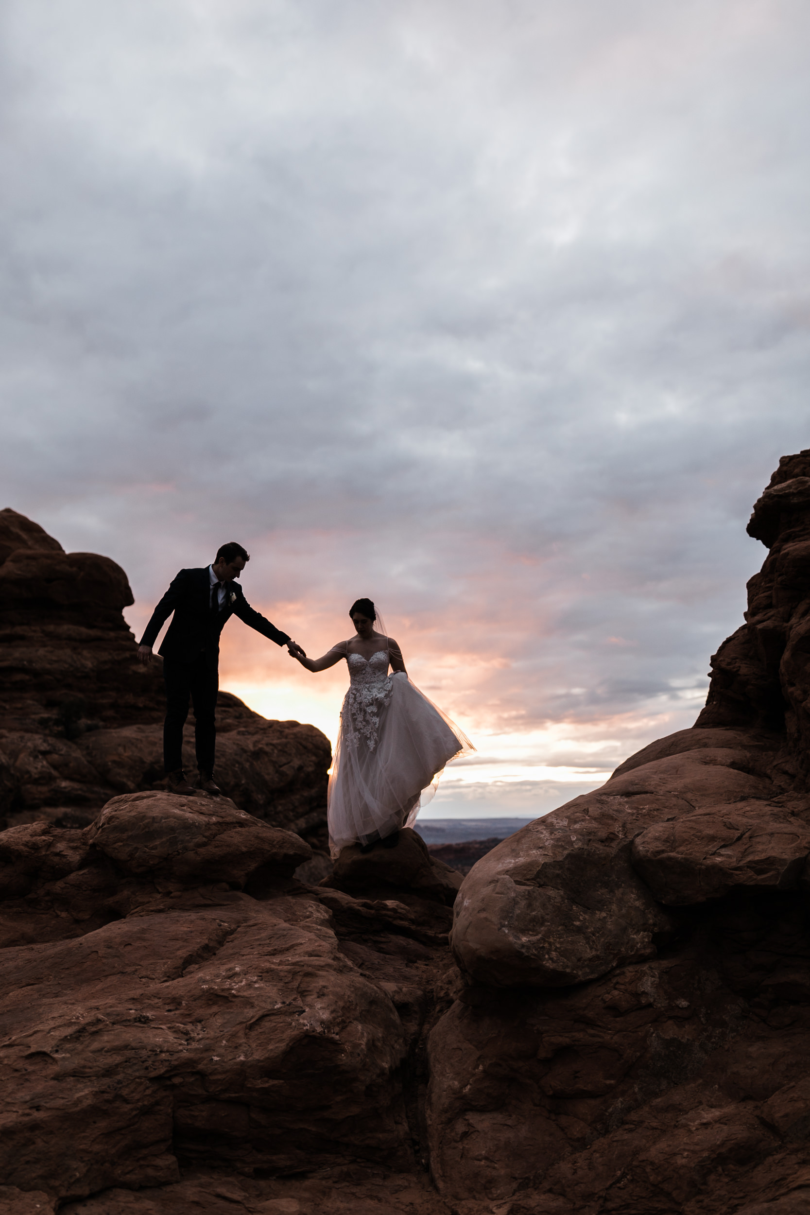 Such an amazing way to end a wedding day in Arches National Park. The weather in Moab usually makes for amazing sunsets.