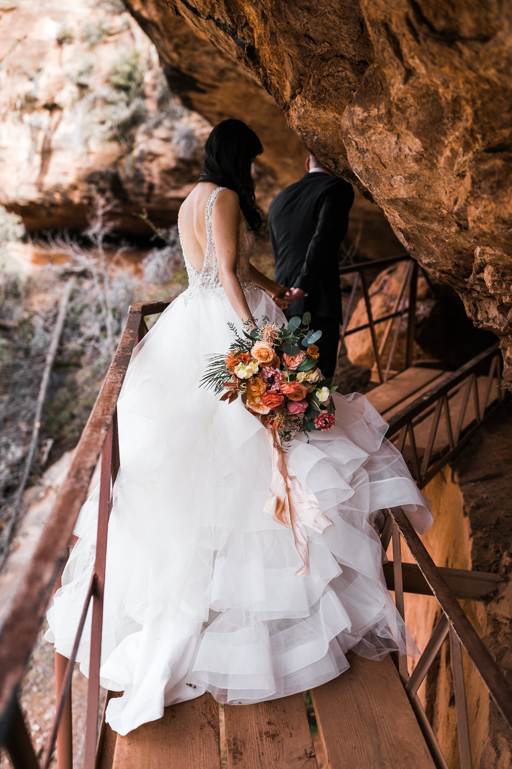 Hiking in a wedding dress The Hearnes