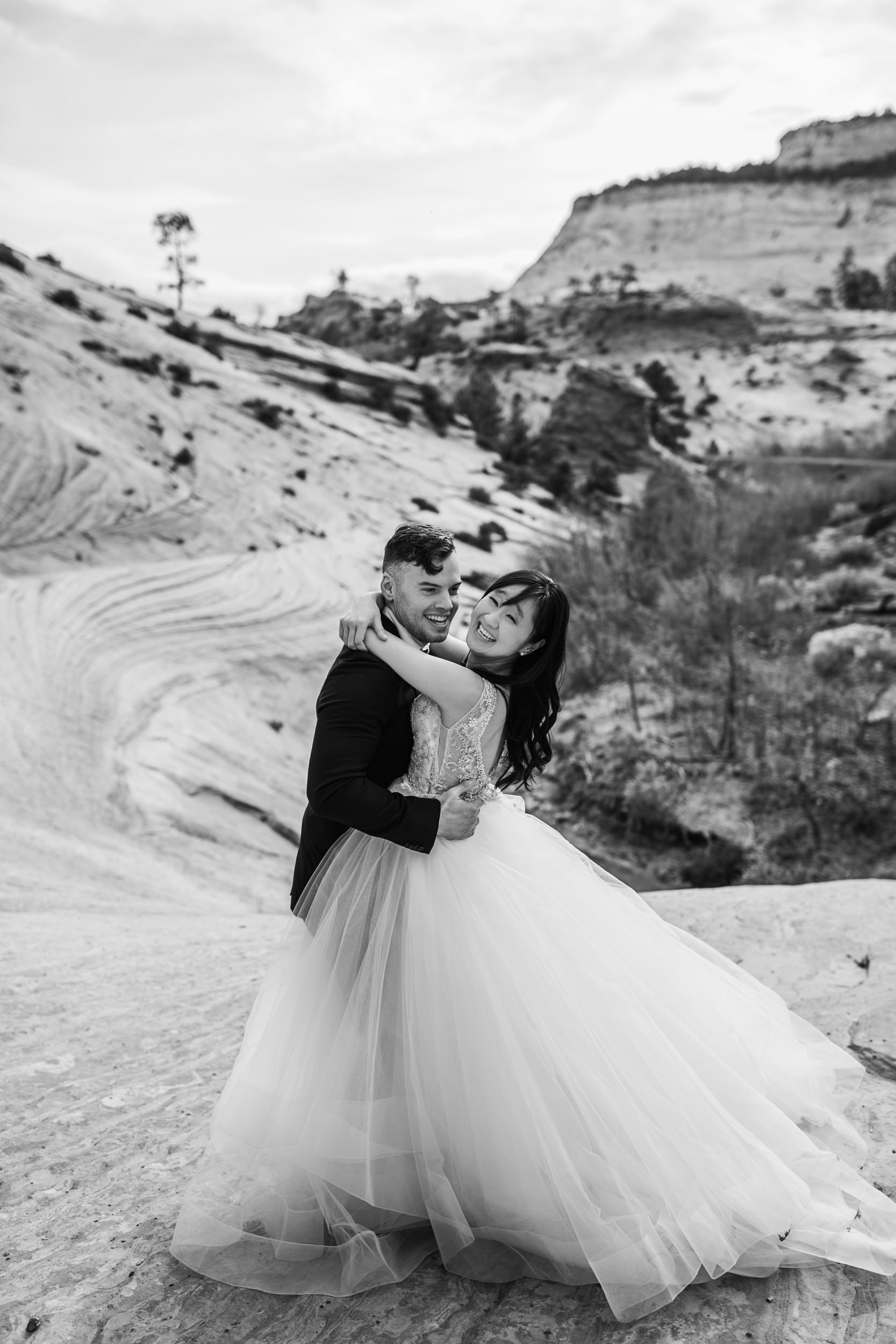 Black and White National Parks Wedding Photography