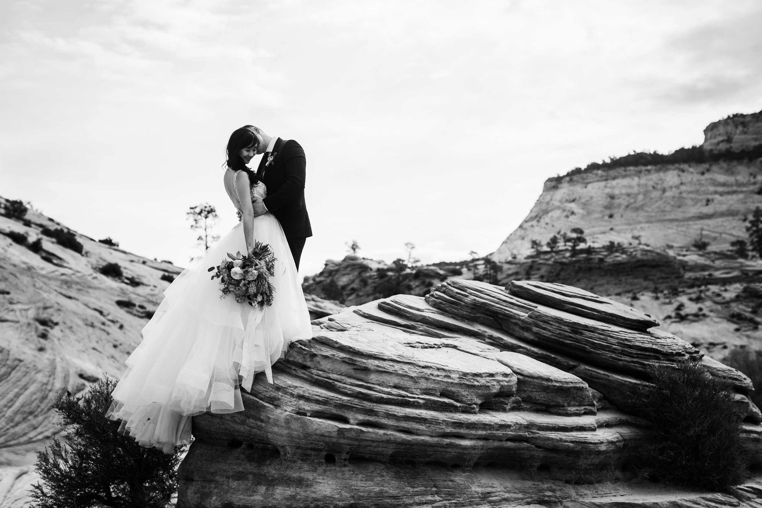 black and white national park wedding photograph the hearnes