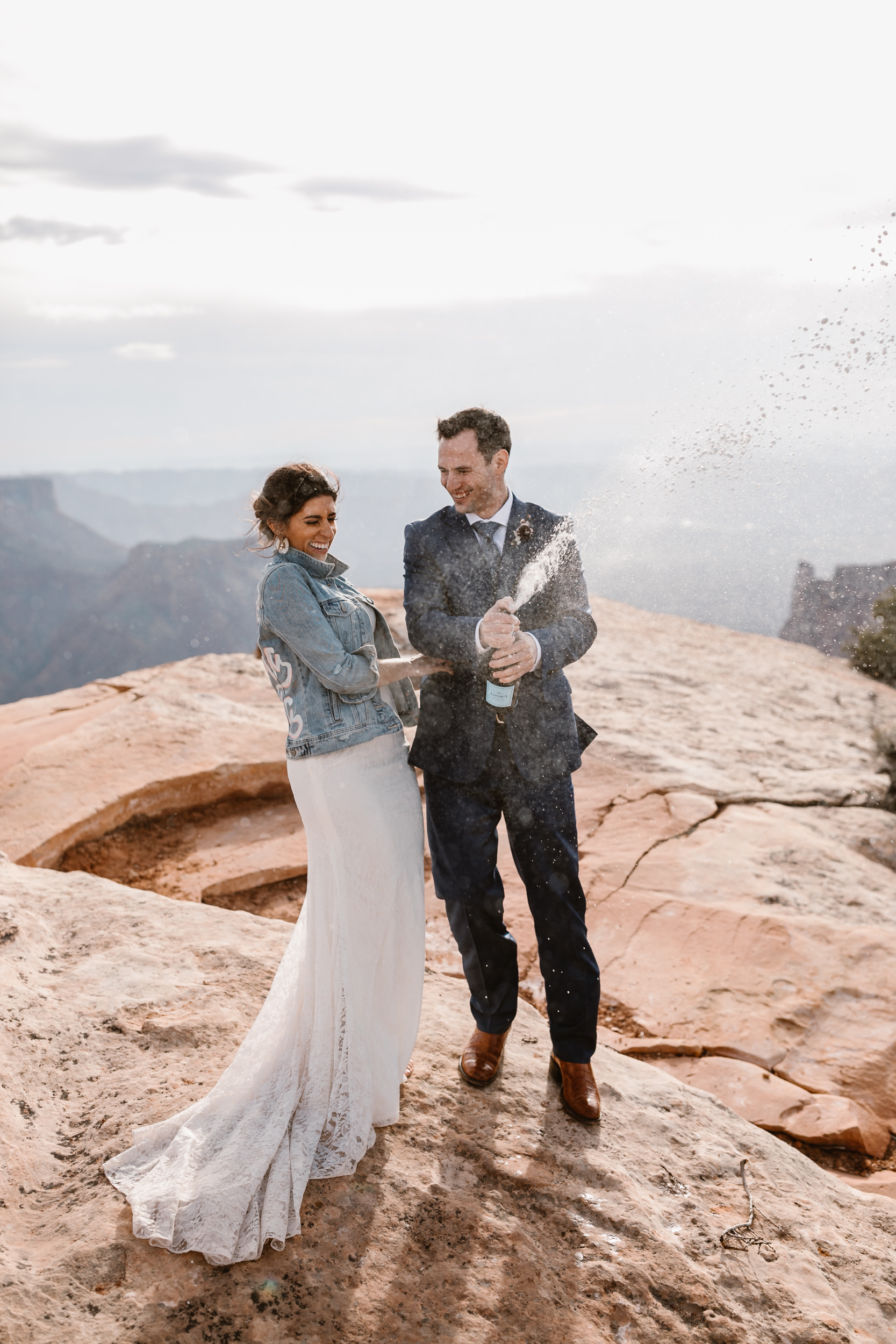 The Hearnes Adventure Wedding in Moab Utah Wedding picture champagne