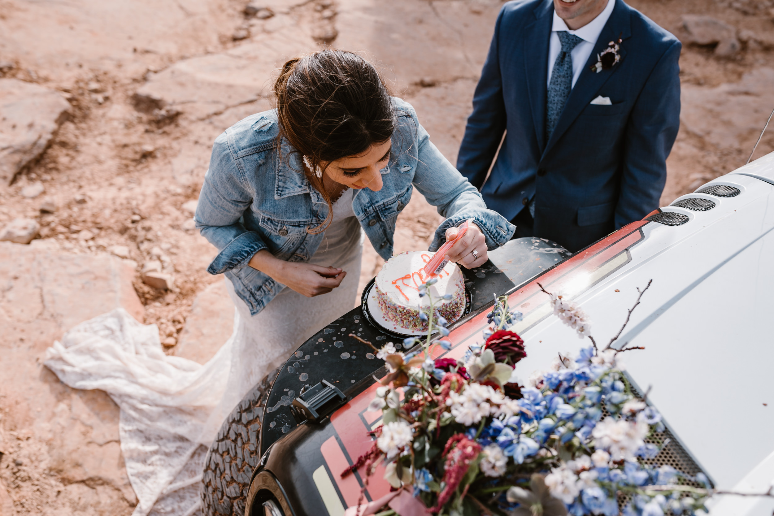 The Hearnes Adventure Wedding in Moab Utah Wedding Cake