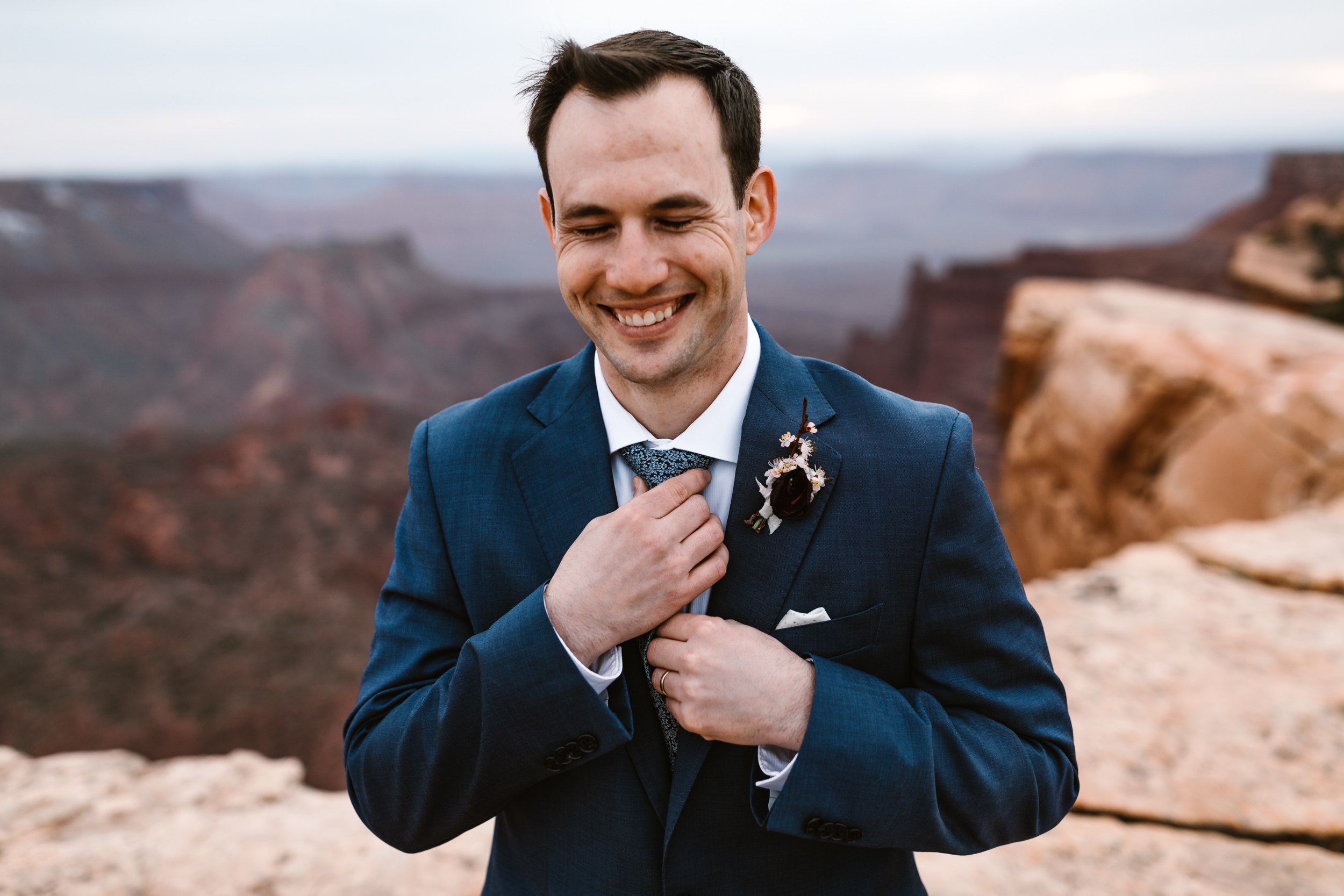 The Hearnes Adventure Wedding in Moab Utah Groom