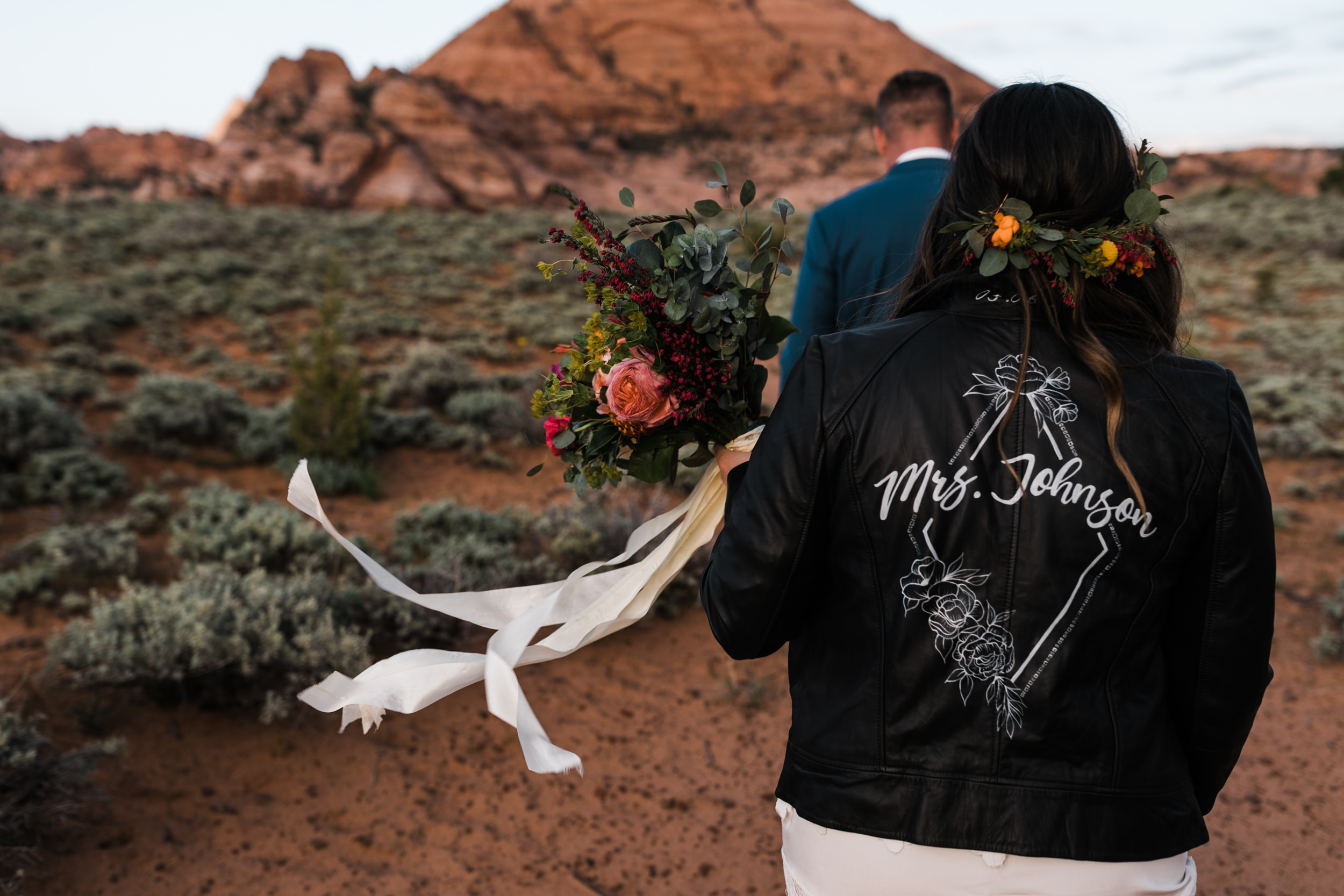 Custom leather bridal jacket | Zion National Park elopement and small wedding inspiration | The Hearnes Adventure Photography