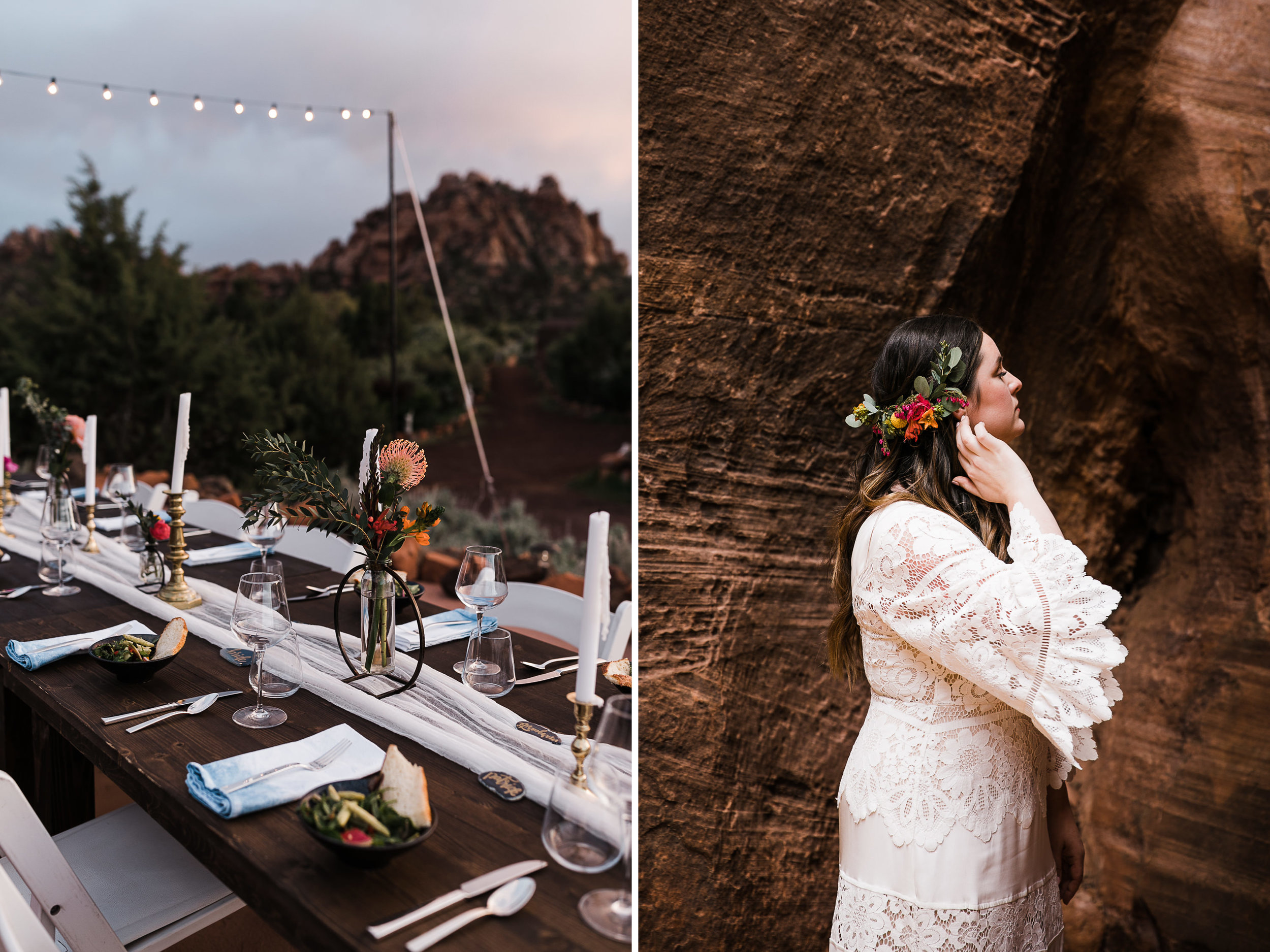 styled elopement dinner ideas | sunset intimate wedding in the desert | the hearnes adventure photography