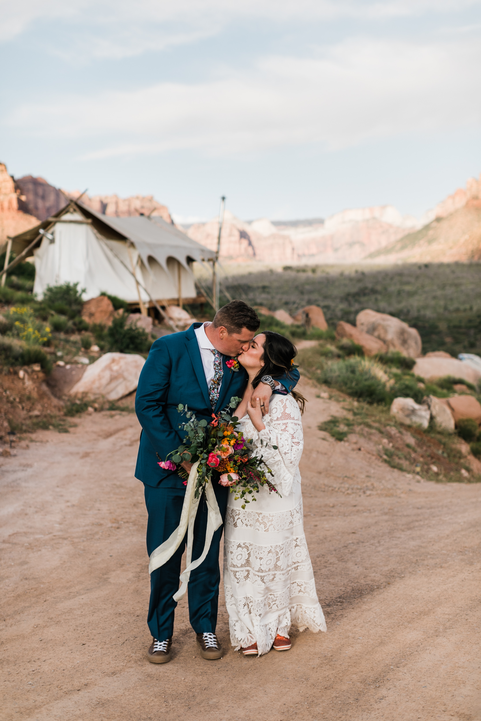 Zion national park elopement photographer | under canvas wedding | the hearnes adventure photography
