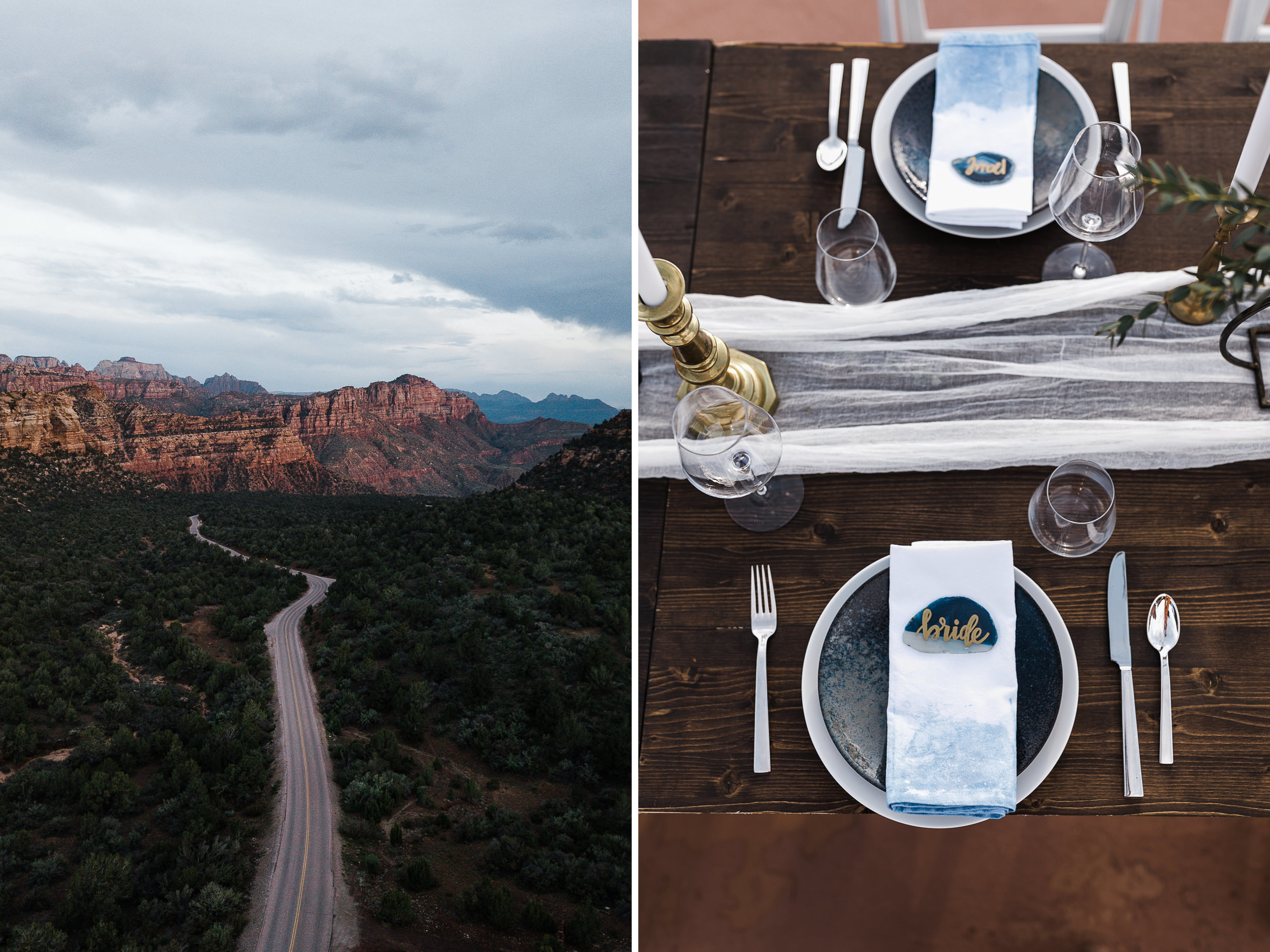 Zion national park elopement photographer | styled small wedding dinner in the desert | the hearnes adventure photography