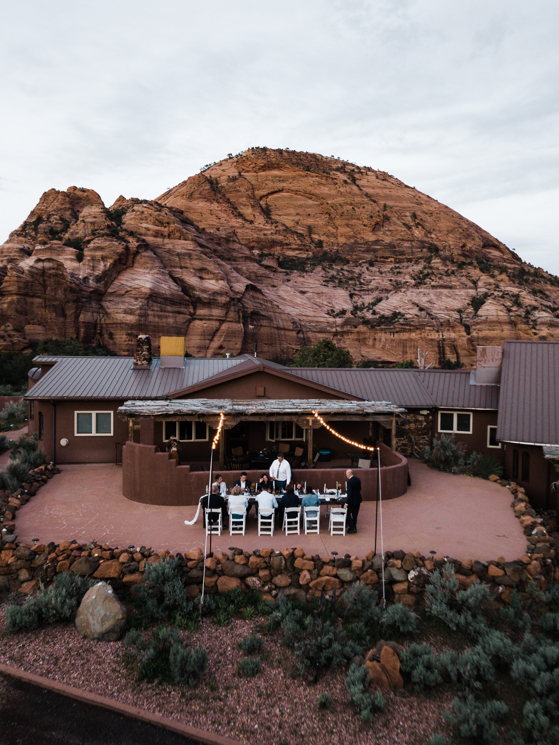 Zion national park elopement photographer | styled small wedding dinner reception in the desert | the hearnes adventure photography