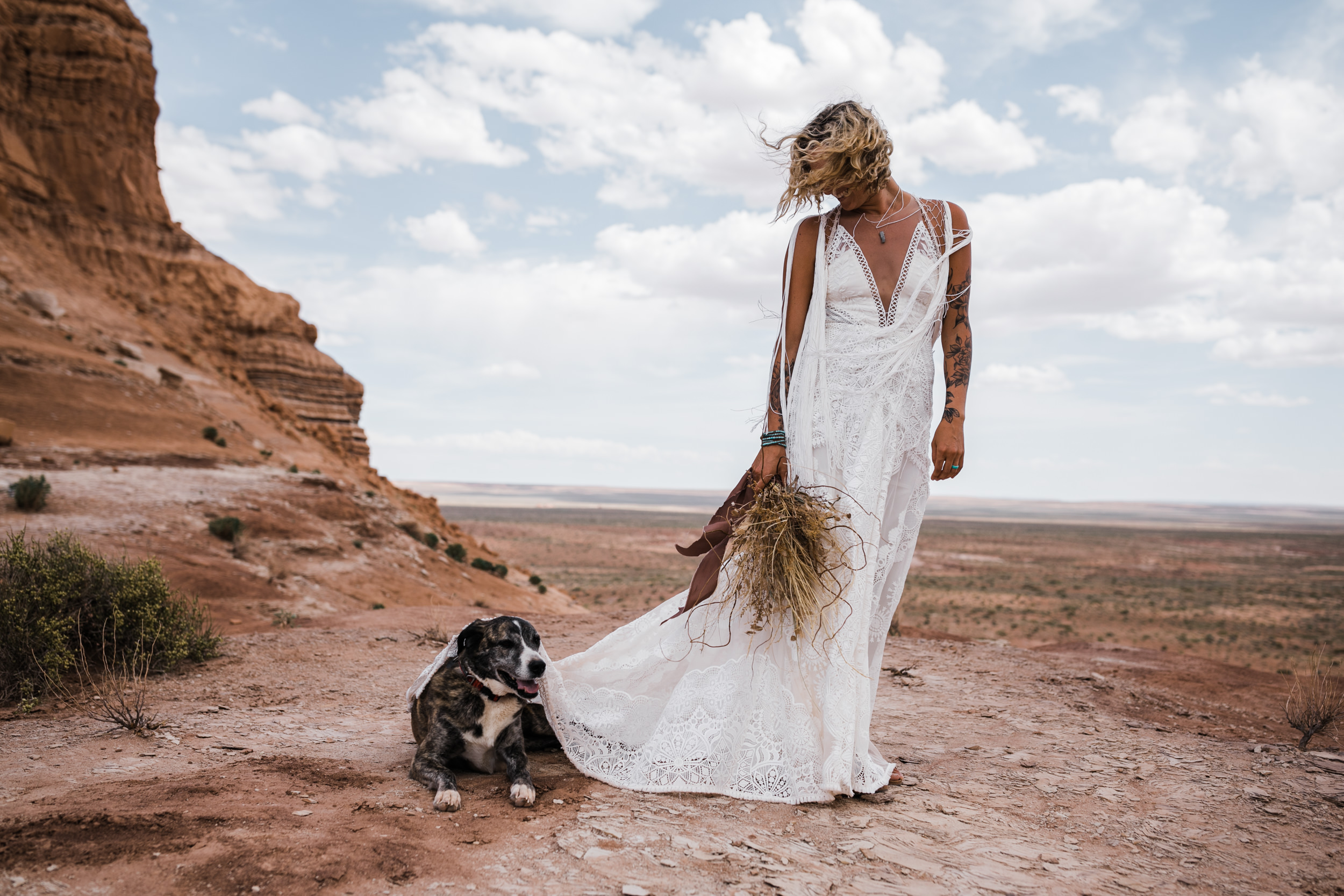 brianna madia rue de seine wedding dress portraits with their dogs bucket and dagwood