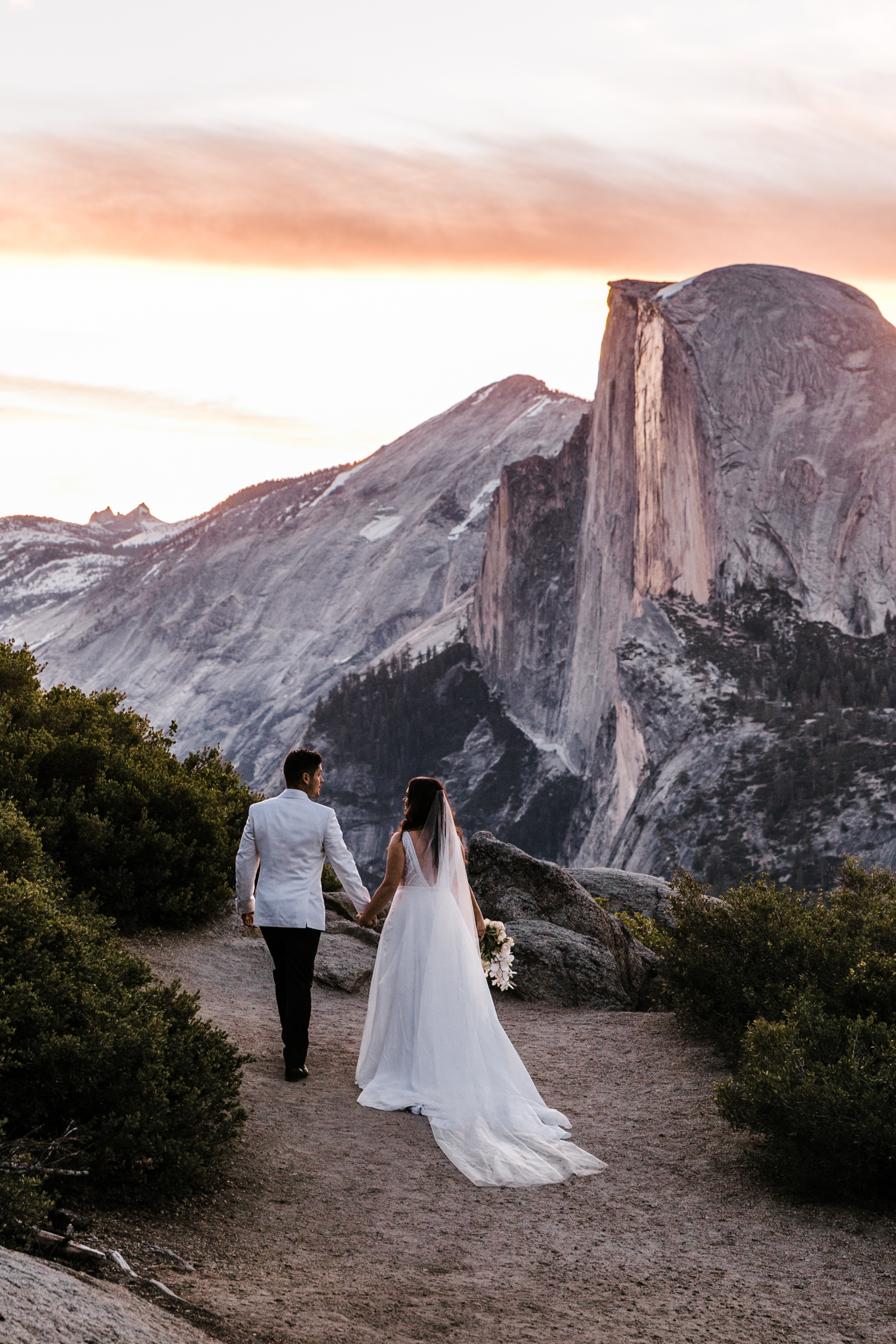 Adventurous Destination Elopement in Yosemite National Park | Glacier Point Sunrise First Look + Taft Point Ceremony | The Hearnes Adventure Photography