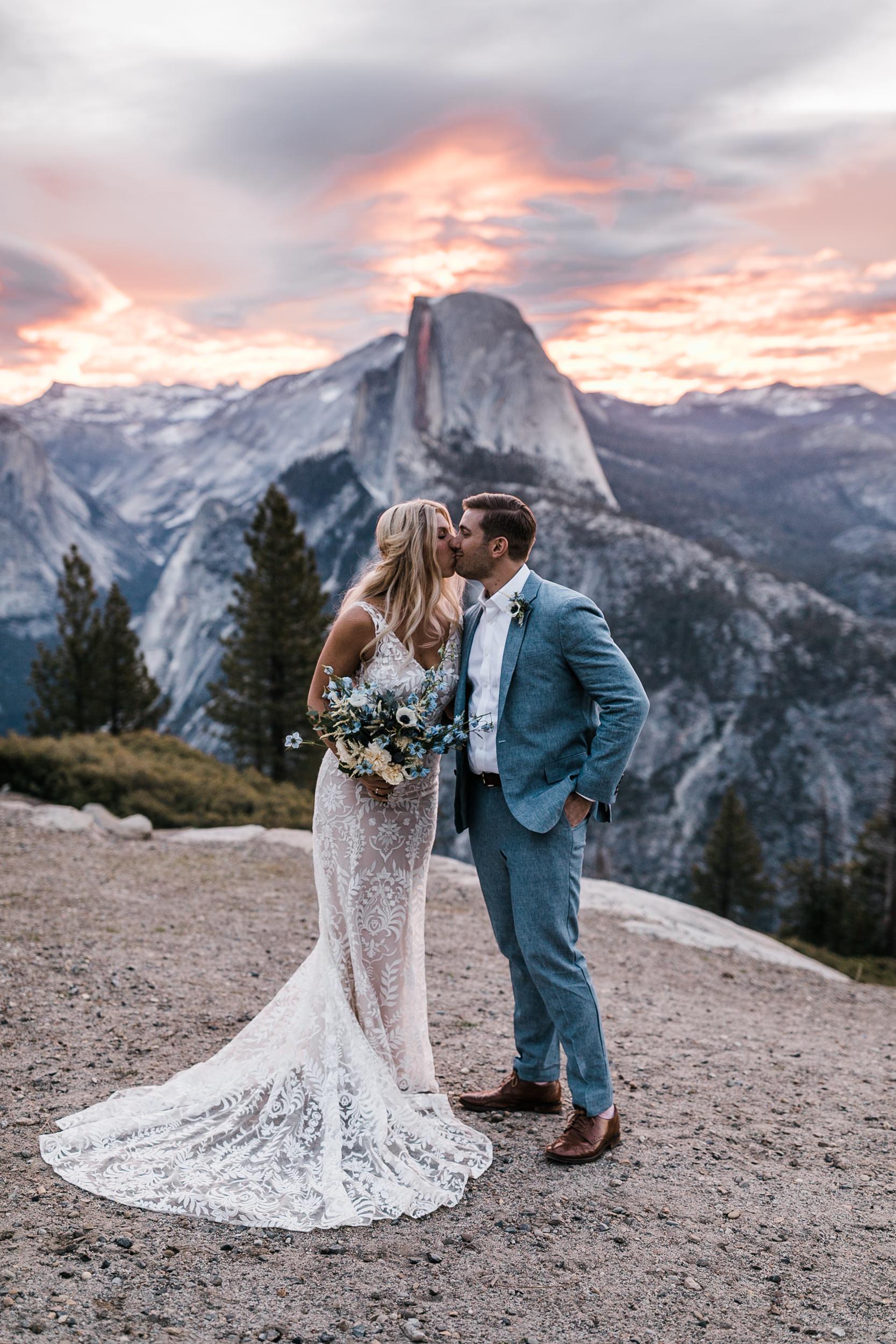 Erika + Grant's intimate Yosemite National Park destination wedding + romantic backyard reception under twinkle lights | glacier point sunrise first look | the hearnes adventure photography