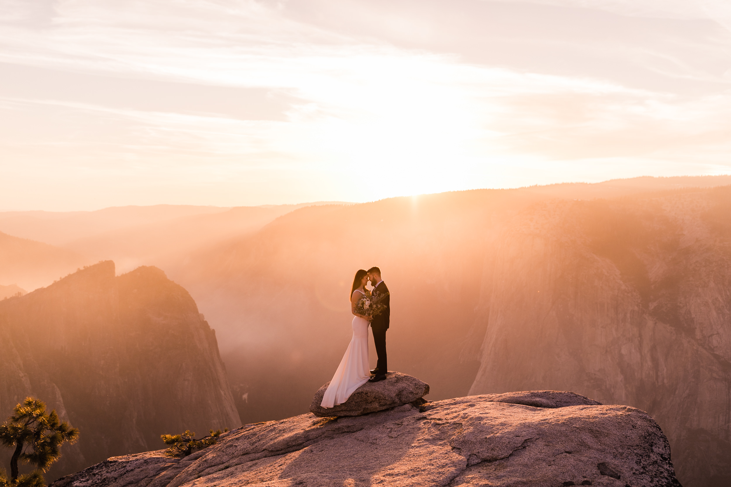 April + Kyle's Adventurous Wedding Portraits in Yosemite National Park | the hearnes adventure wedding photography | taft point elopement
