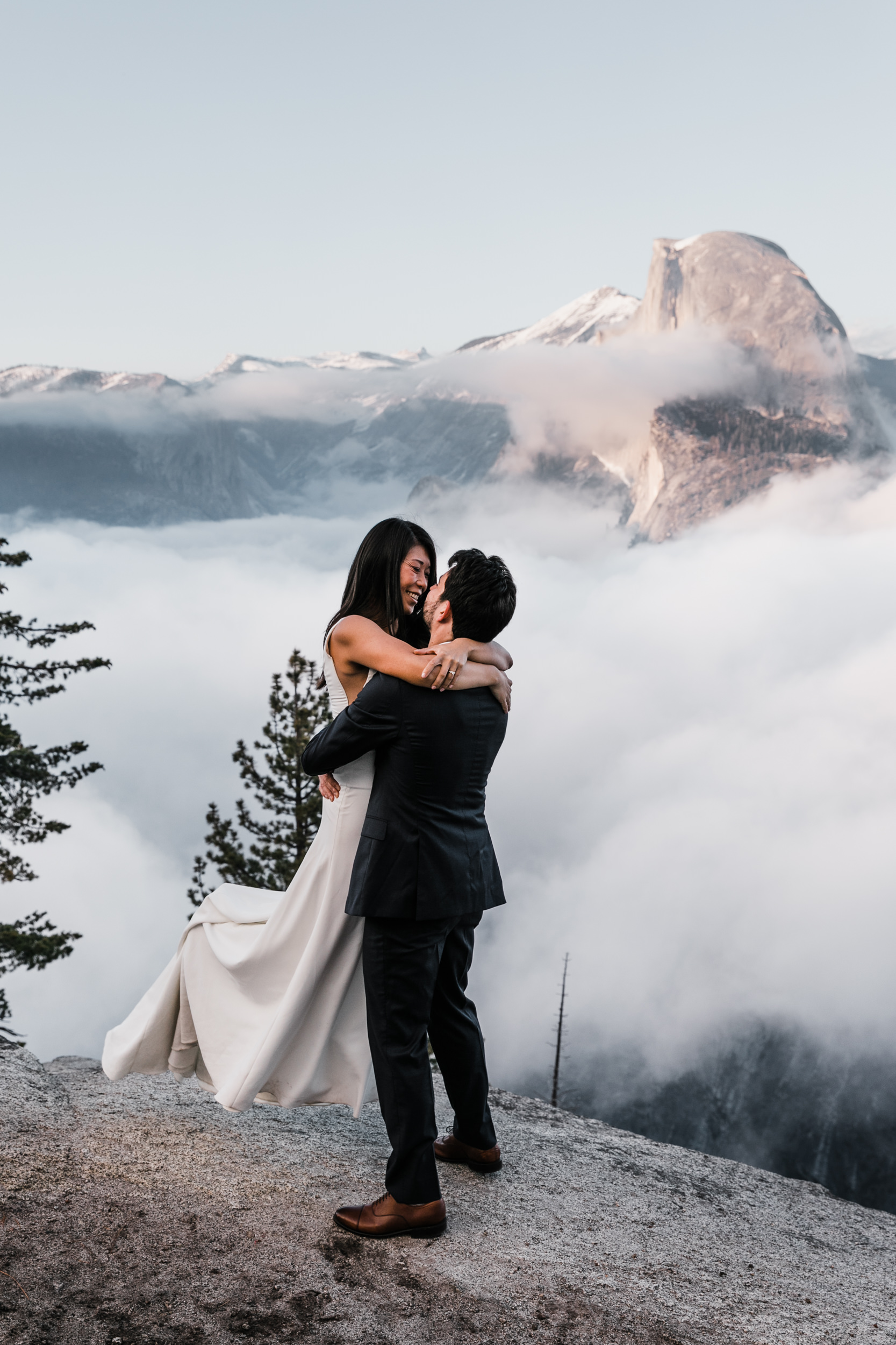 adventurous elopement wedding session in yosemite national park | glacier point wedding photography | the hearnes