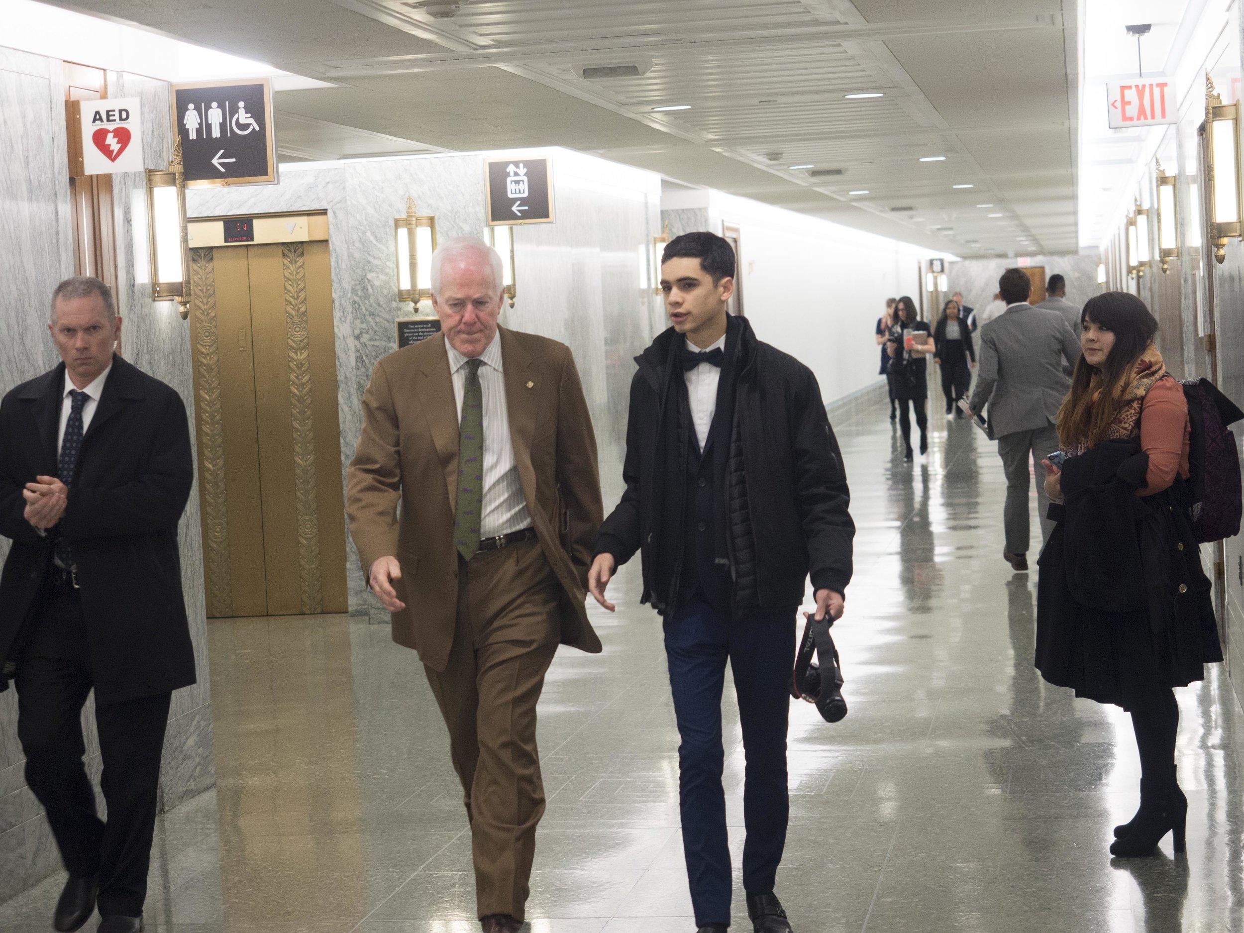 Saul speaking with Sen. John Cornyn (R) in the Senate Building