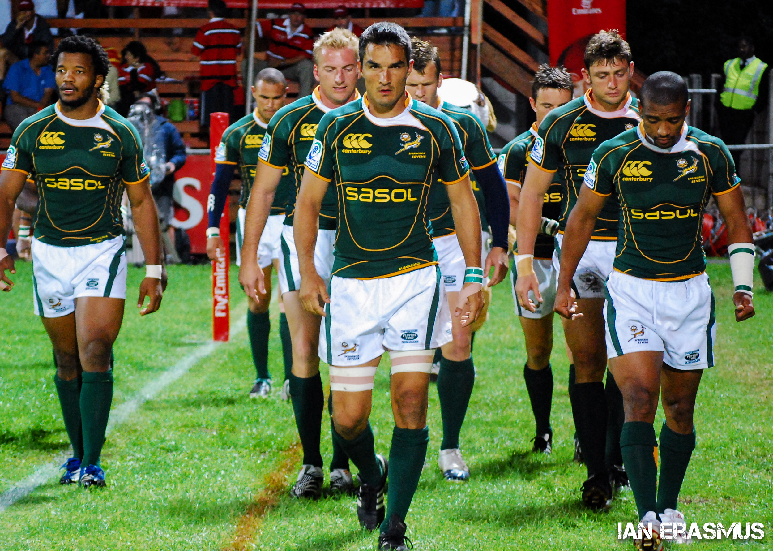 Captain Neil Powell leads the Springboks 7s team