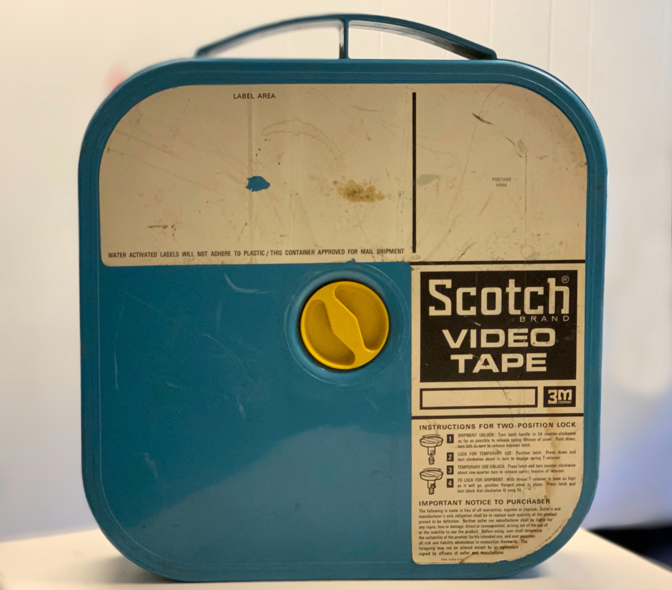 """2"""" 3M Scotch Model 399 Blue Plastic Shipper (the first of 3m's rigid containers-not cardboard)"""