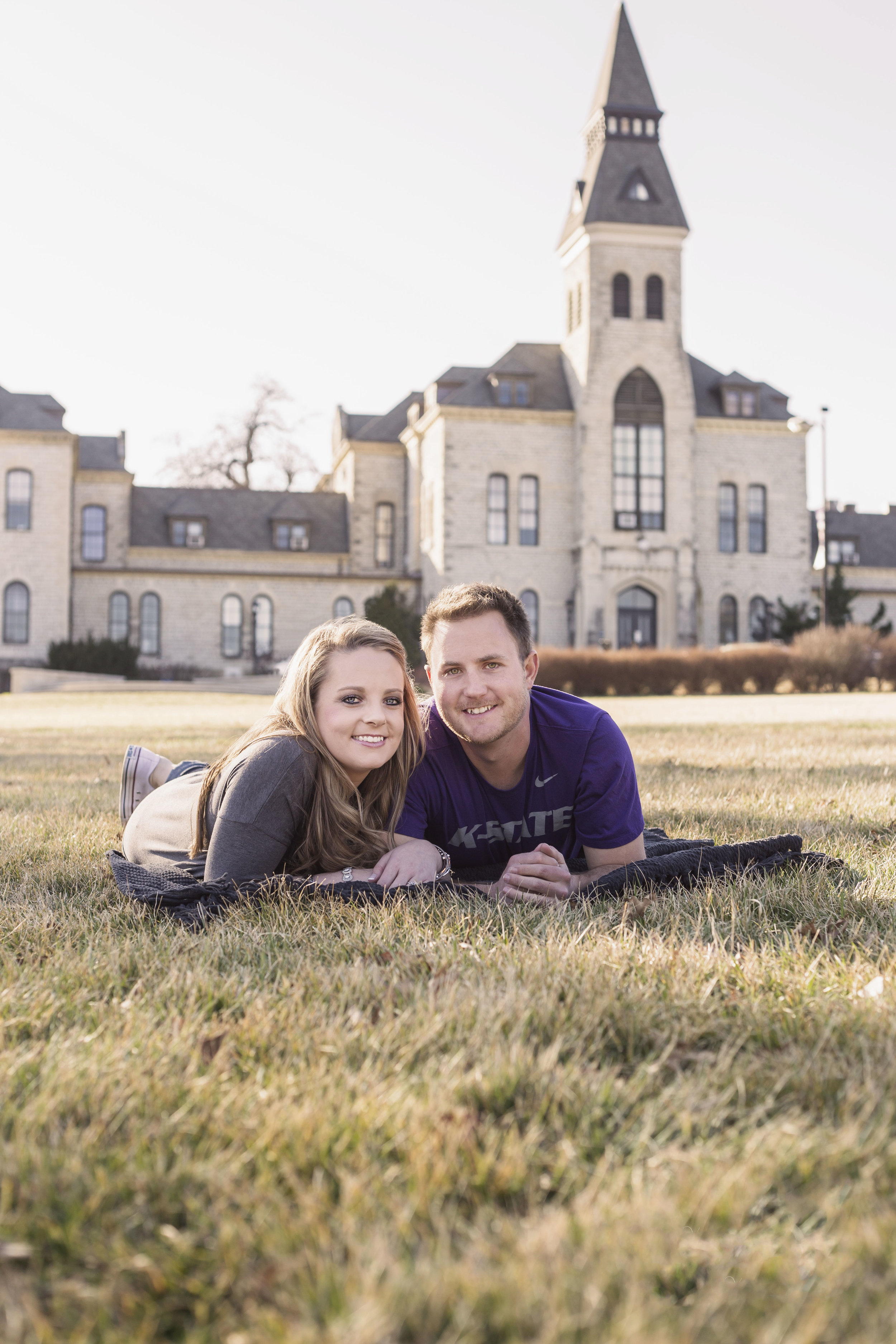 A classic must for any K-State couple, photos on the lawn of Anderson Hall