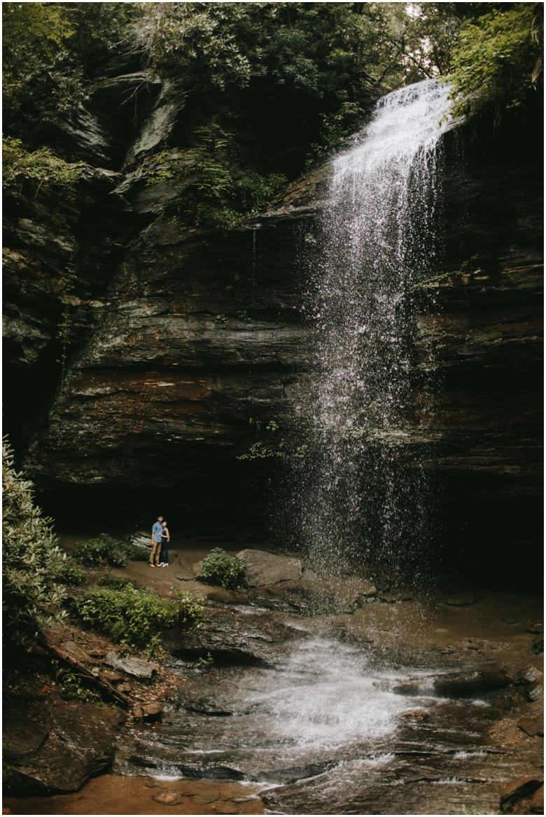 asheville waterfall engagement