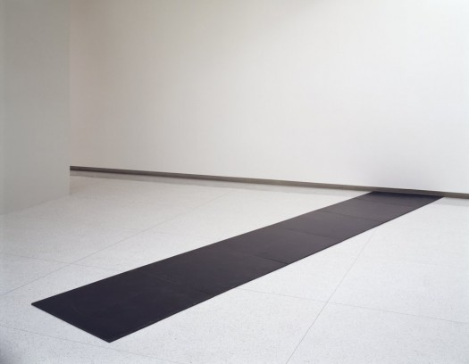 """Slope 2004″ by Carl Andre (1968). Material: Steel. Size: overall 0.5 x 204 x 38 inches. Collection: Walker Art Center."