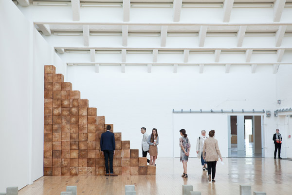 Installation view, Carl Andre: Sculpture as Place, 1958 – 2010, Dia:Beacon, Riggio Galleries, Beacon, New York. May 5, 2014 – March 2, 2015. Art © Carl Andre/Licensed by VAGA, New York, NY. Photo: Ethan Harrison. Courtesy Dia Art Foundation, New York.