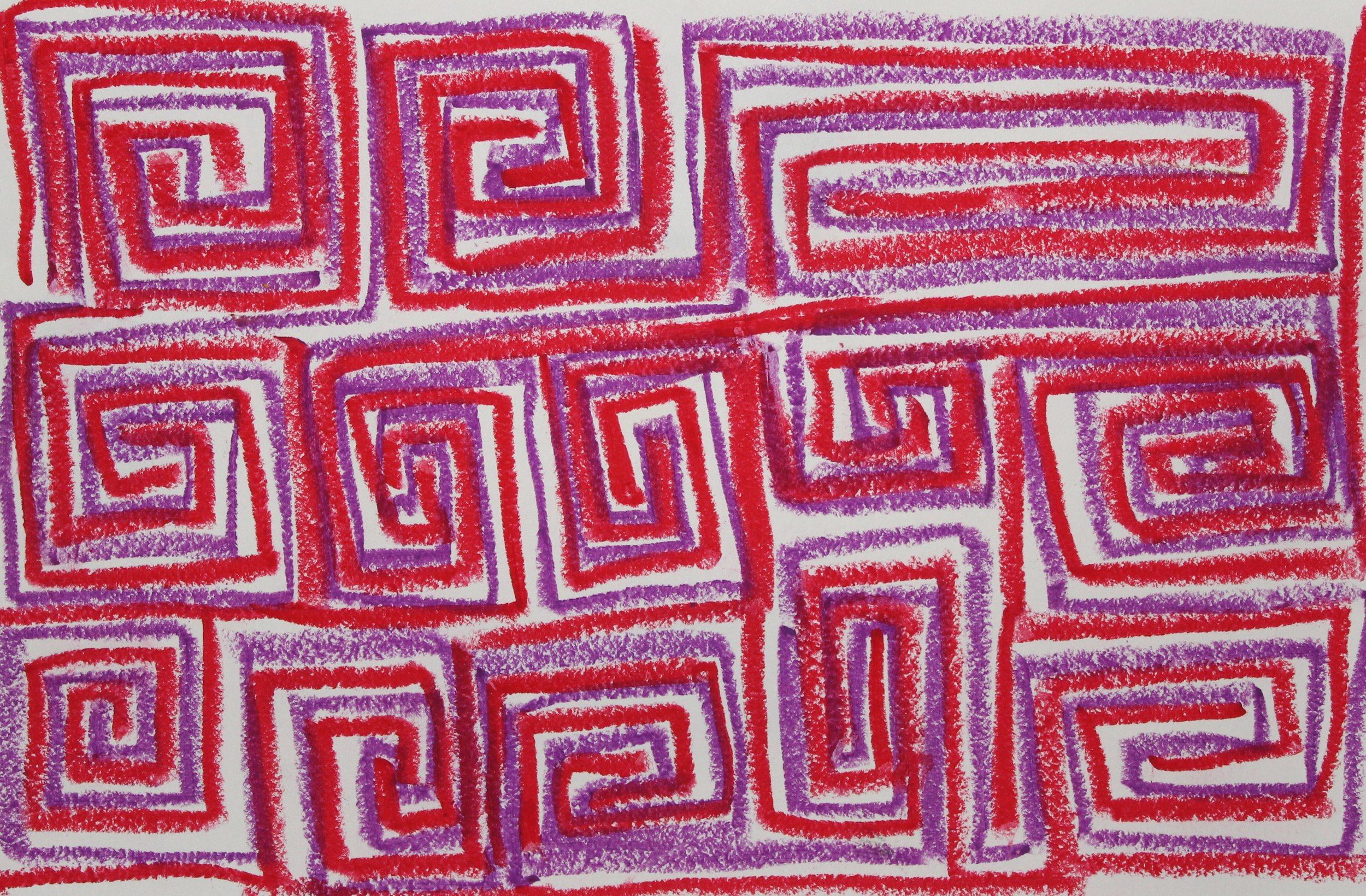 Red on Purple, 2018    Oil Pastel on Paper