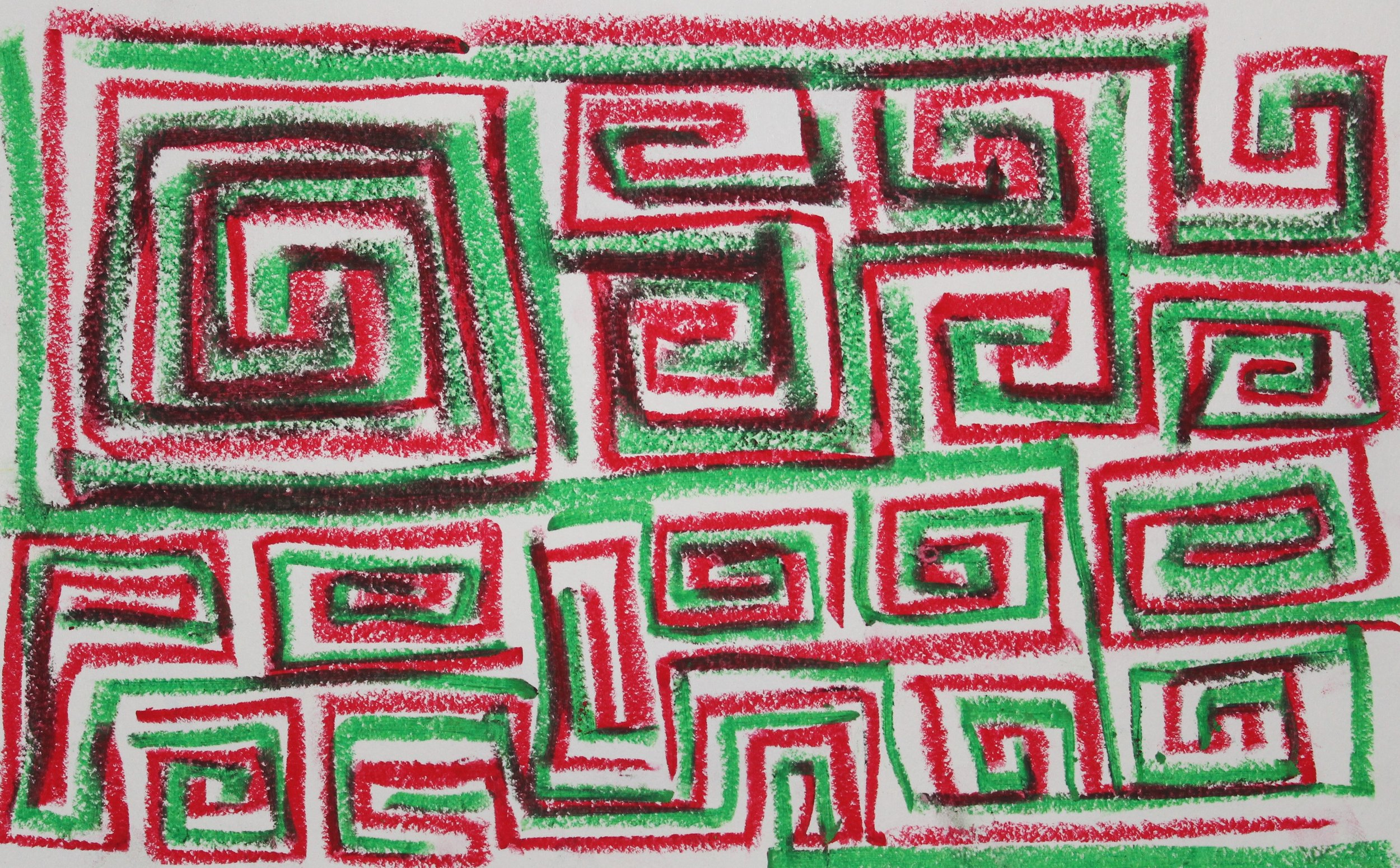 Red on Green, 2018    Oil Pastel on Paper