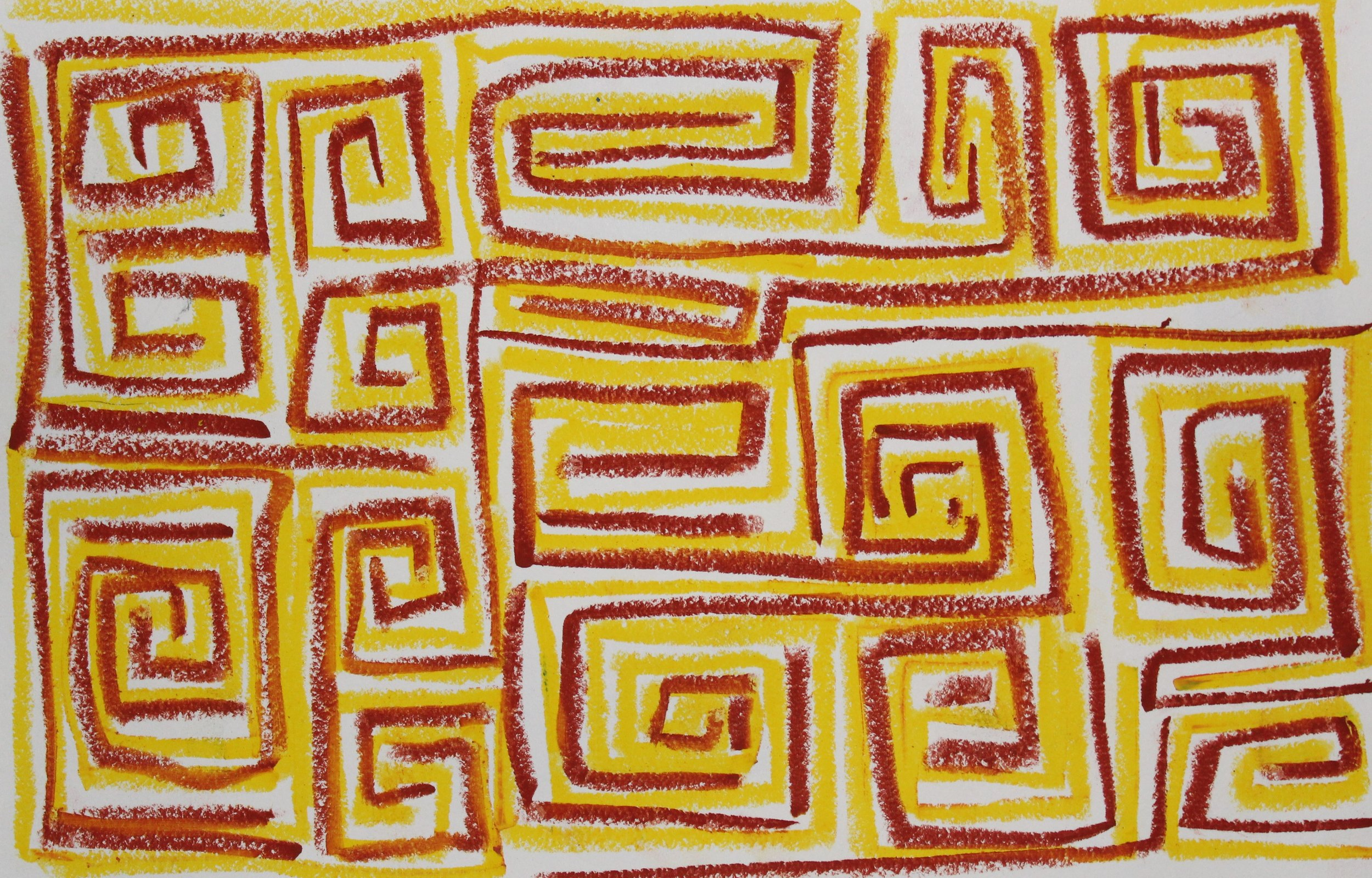 Brown on Yellow, 2018    Oil Pastel on Paper