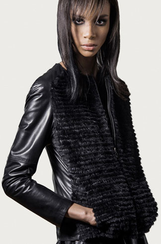 STYLE # T122353MP   mink & leather zip front jacket