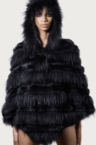 STYLE # T122357R   rabbit & asiatic raccoon hooded poncho