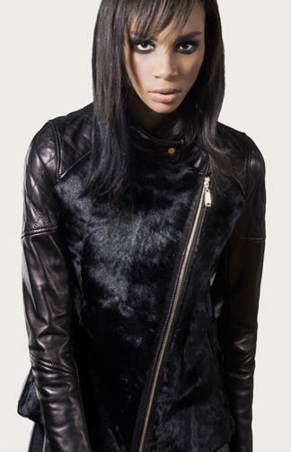 STYLE # T12378GO   goat & leather asymmetrical biker jacket