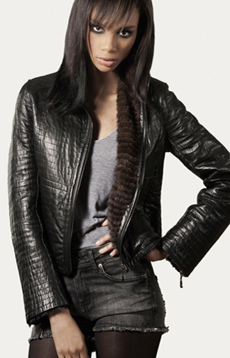 STYLE # T12235MP   layered mink & leather reversible jacket