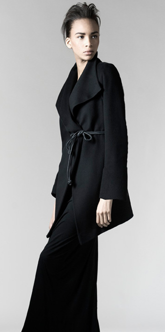 STYLE # T082993   wool angle wrap coat