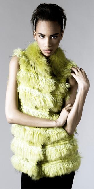 STYLE # T122074TB   layered rabbit, finn raccoon,& tibetan lamb vest