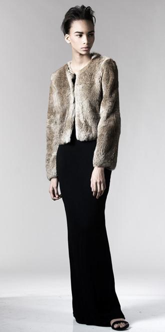 STYLE # T122161R   long hair rabbit collarless jacket